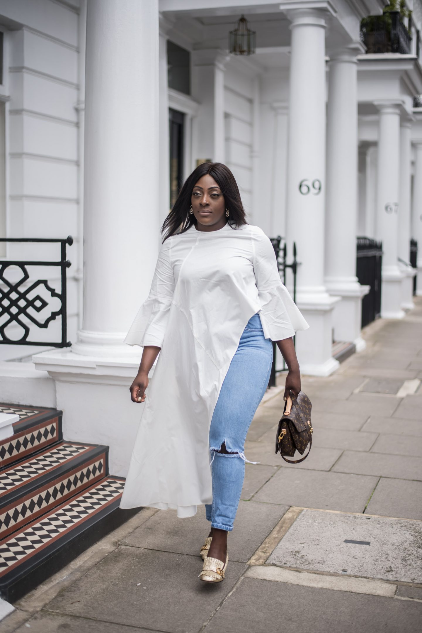 ASOS White Top, ASOS Jeans, Gucci Marmot Loafers and Pochette Metis 3 - Style and the Sass