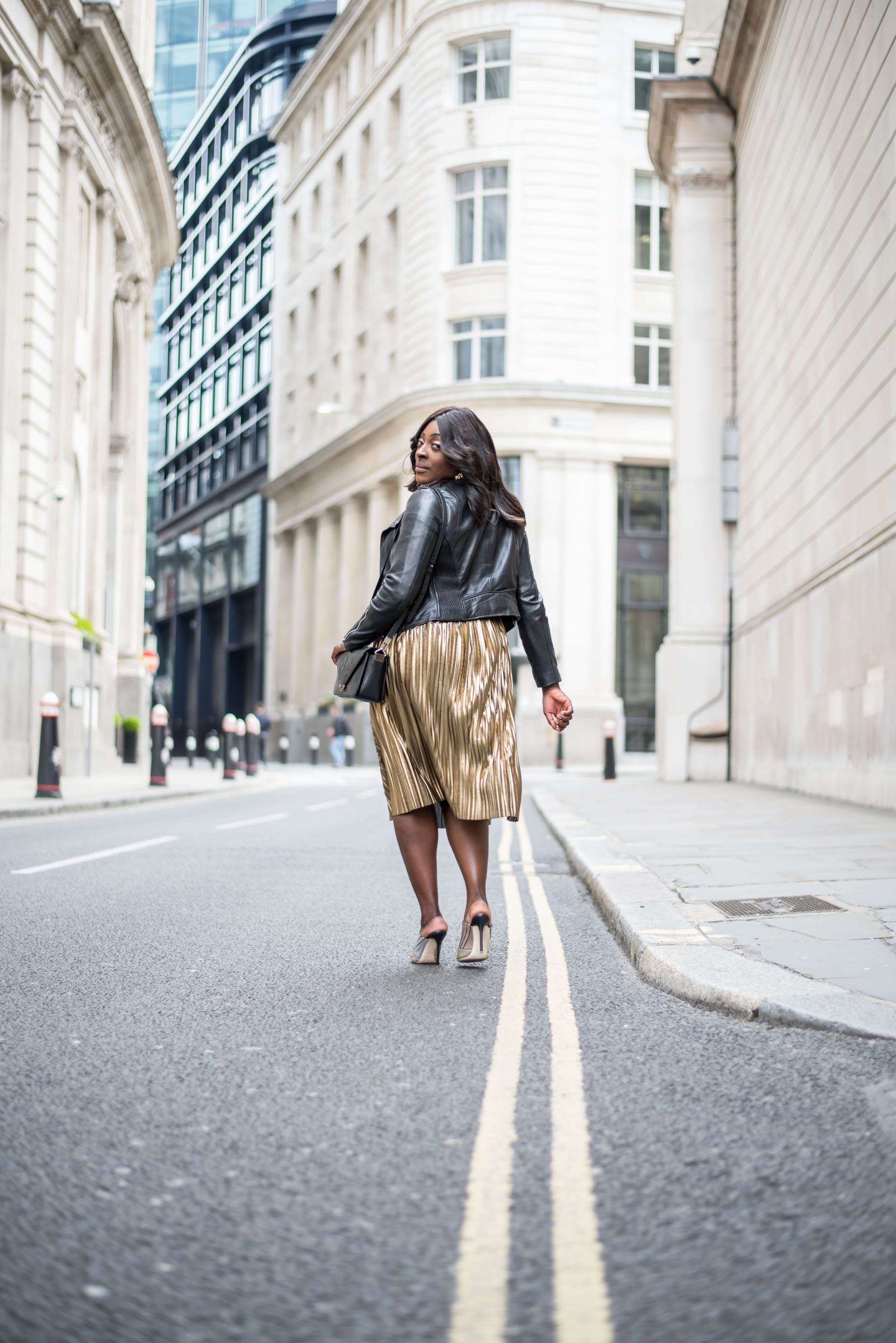 Accountable by Influence 7 - Top Shop Skirt, Zara leather jacket and Malone Souilers Donna metallic shoes - Style and the Sass