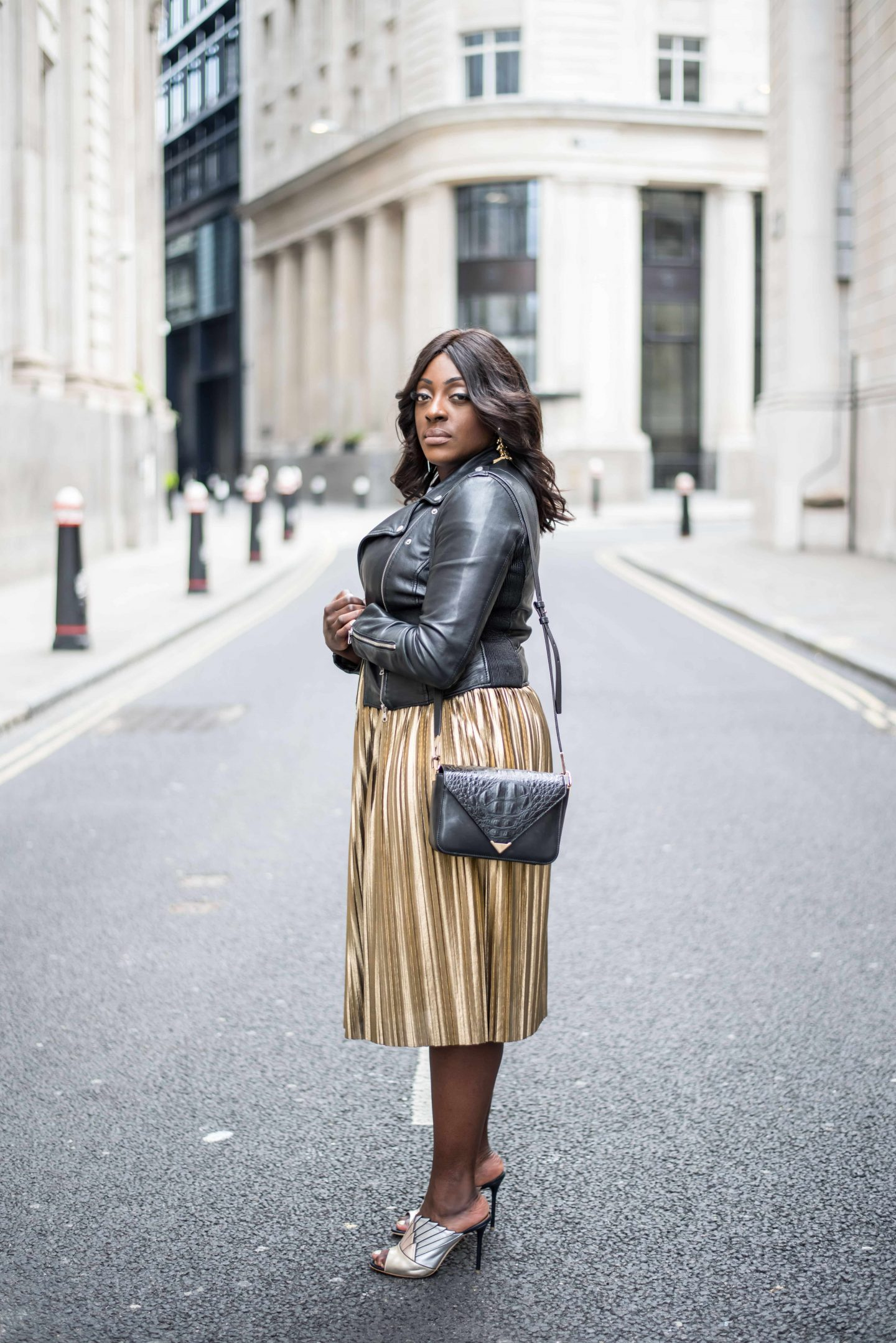 Accountable by Influence 4 - Top Shop Skirt, Zara leather jacket and Malone Souilers Donna metallic shoes - Style and the Sass