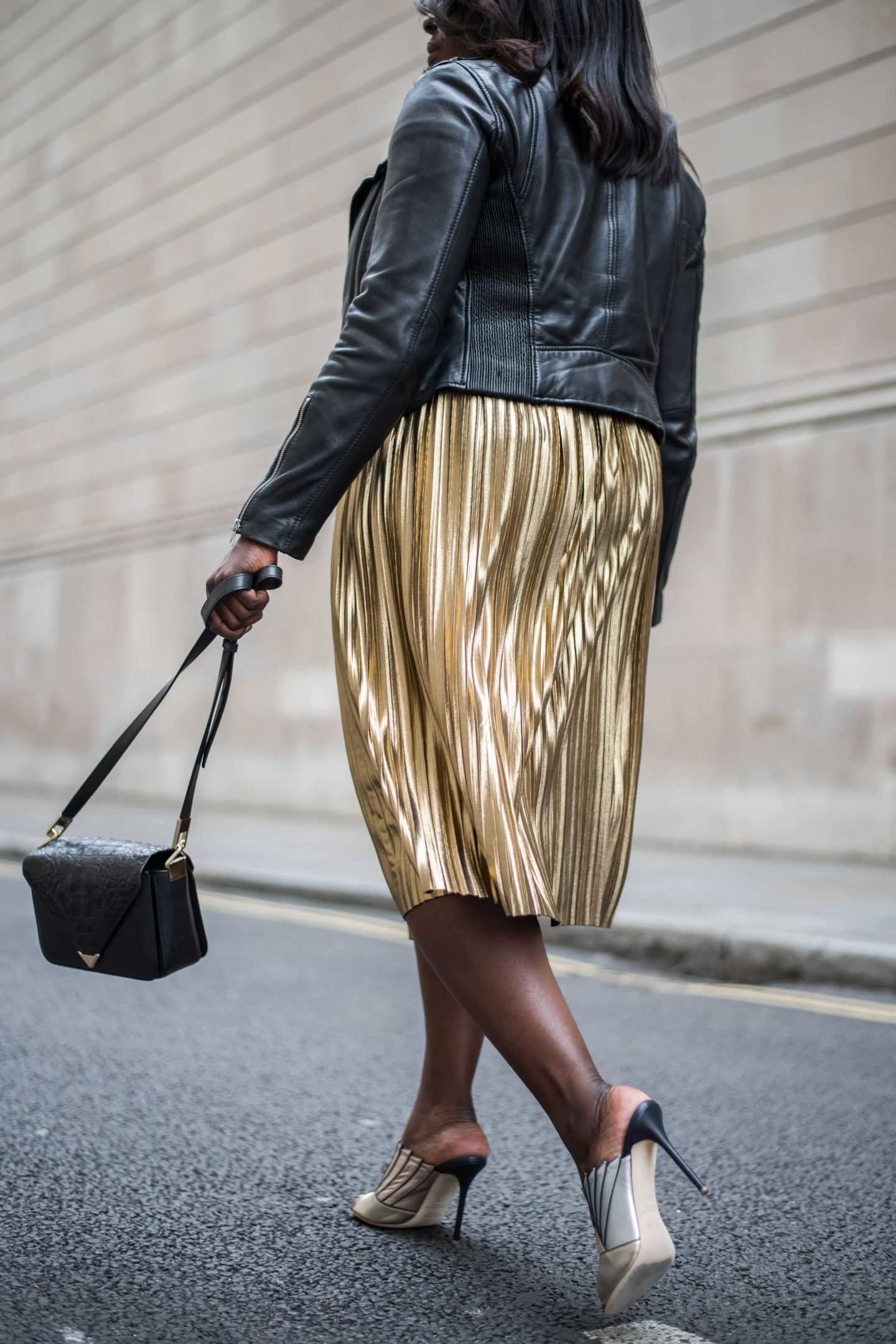 Accountable by Influence 5 - Top Shop Skirt, Zara leather jacket and Malone Souilers Donna metallic shoes - Style and the Sass