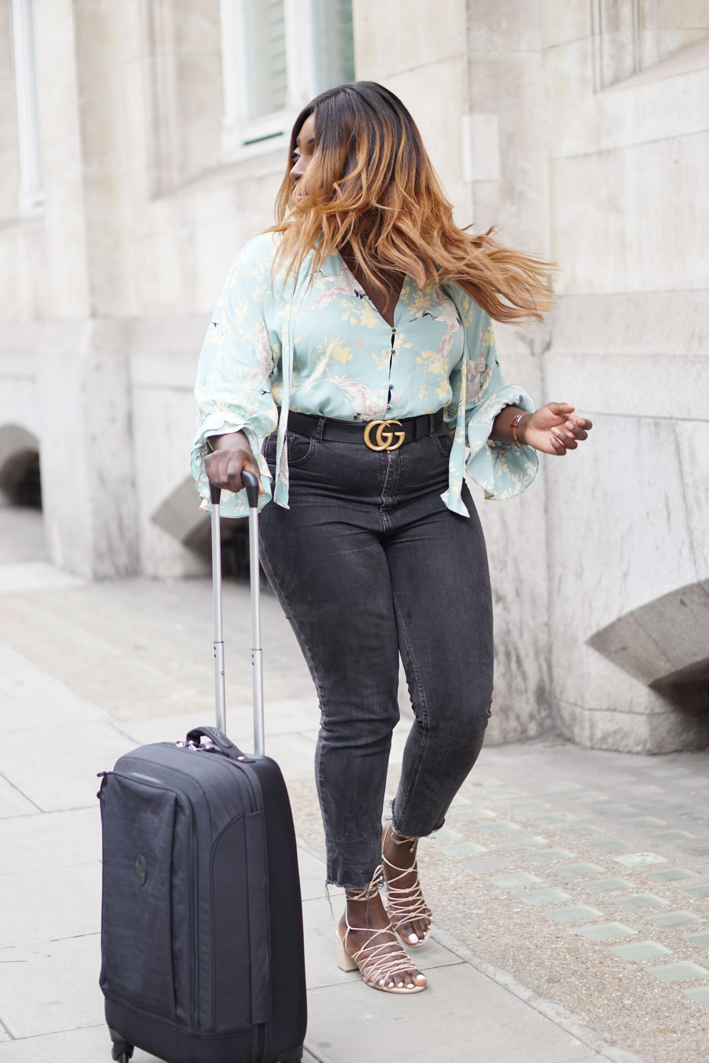 Business Travel Essentials with Kipling 2 -SUPER HYBRID S Cabin Size Wheeled Luggage - Gucci Belt - Zara Blouse - Style and the Sass