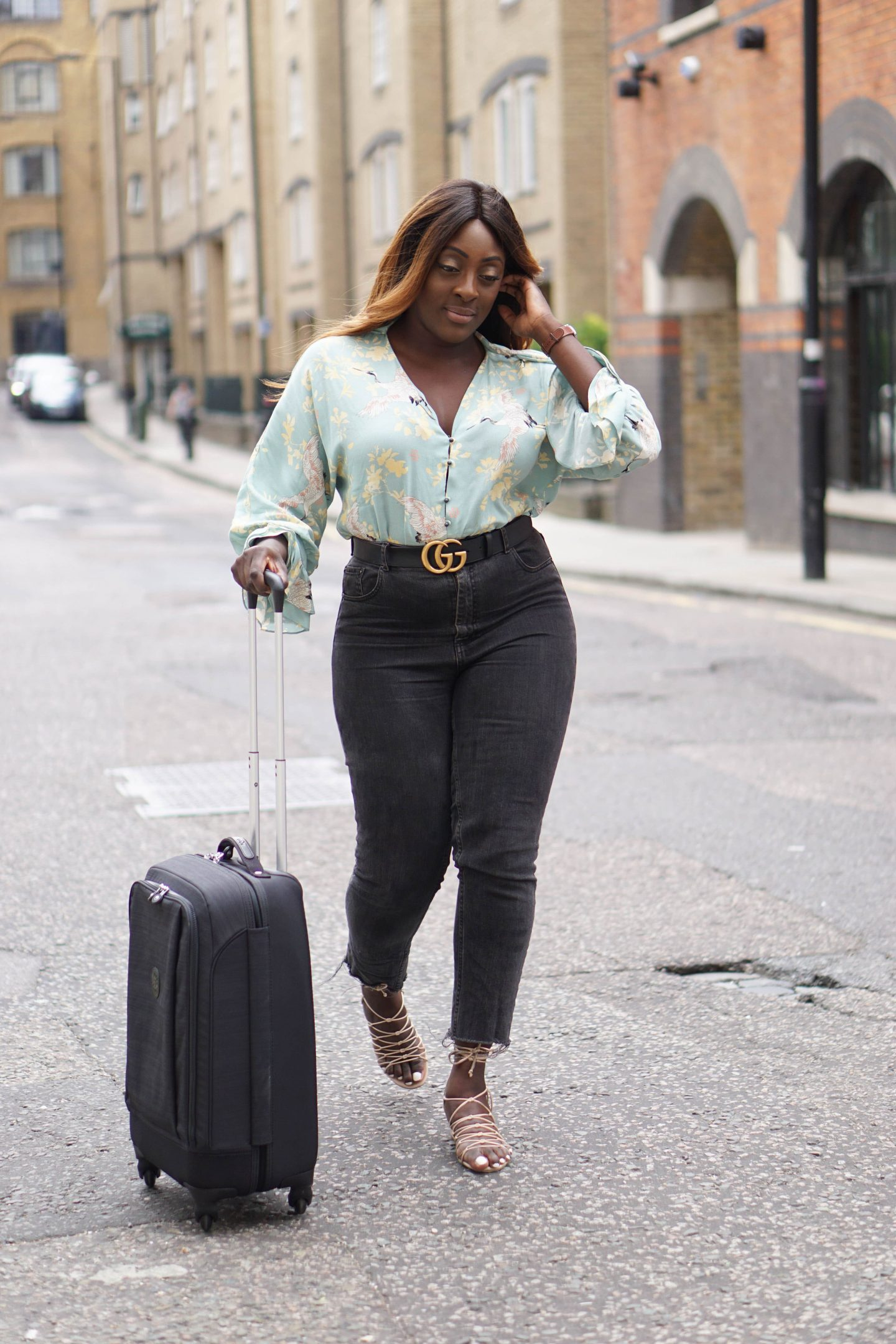 Business Travel Essentials with Kipling 6 -SUPER HYBRID S Cabin Size Wheeled Luggage - Gucci Belt - Zara Blouse - Style and the Sass