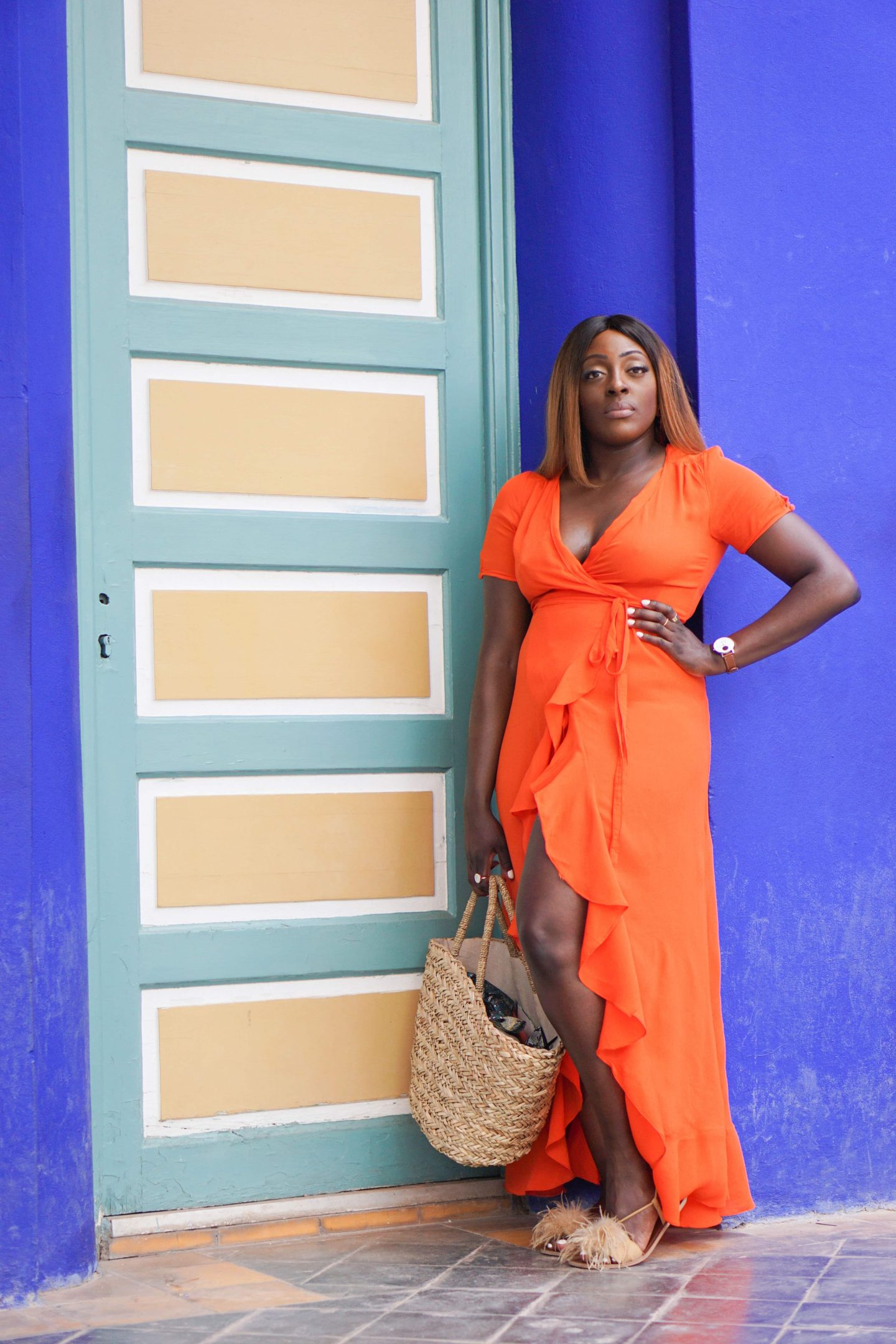 Marrakech - Le Jardin Majorelle Yves Saint Laurent - Orange maxi dress from ASOS - Style and the Sass