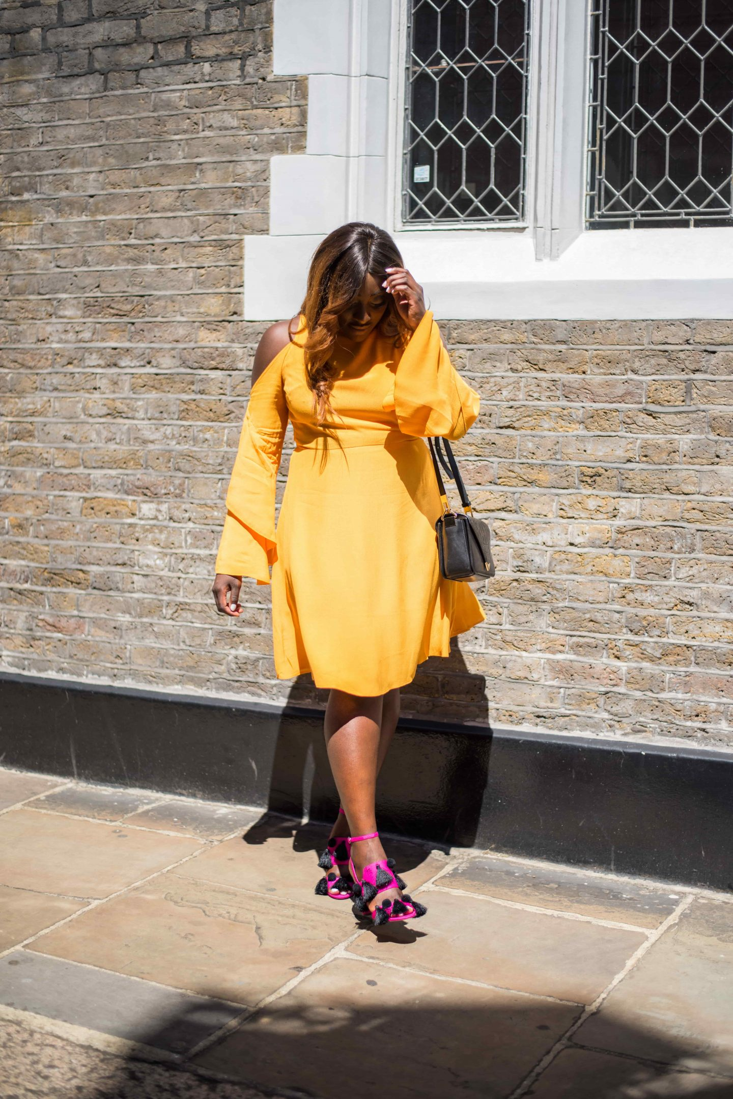 Colour Popping & Midi Dresses - NK-AD fashion mustard dress - Top Shop Pink Shoes - Alexander Wang prisma bag - Style and the Sass