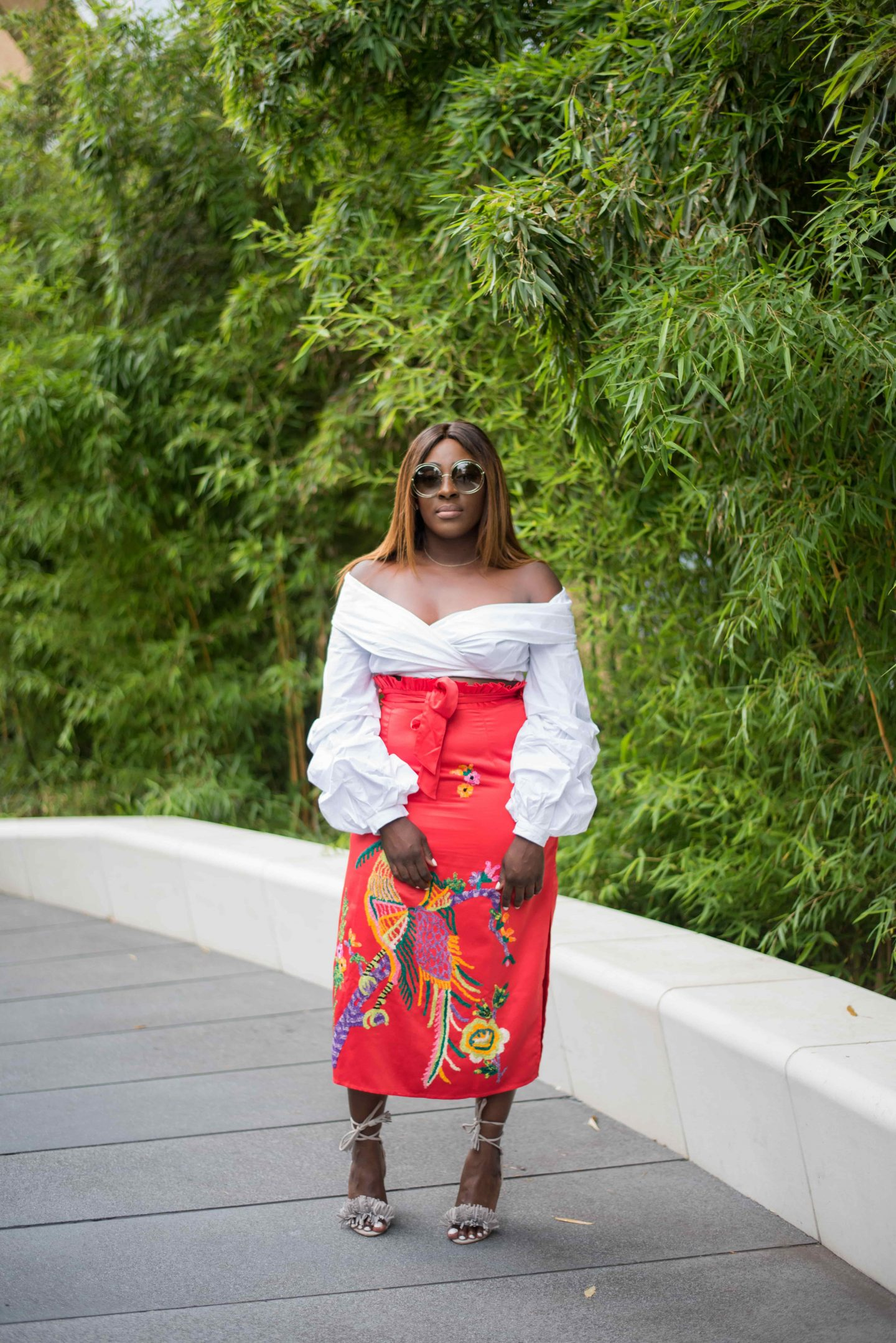 Statement Skirts & Tropical Roof Gardens 2 - asos white top - asos embroidery skirt - chloe sunglasses - Style and the Sass