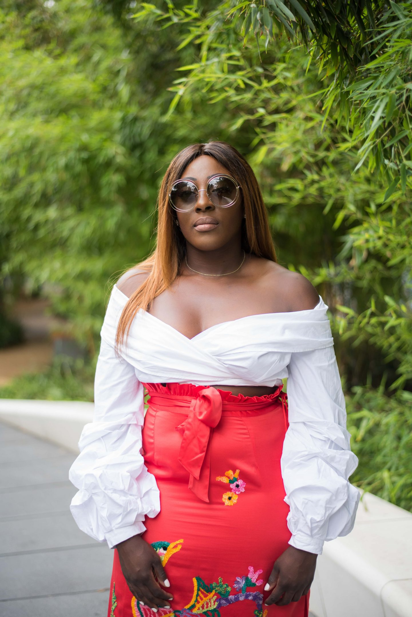 Statement Skirts & Tropical Roof Gardens 3 - asos white top - asos embroidery skirt - chloe sunglasses - Style and the Sass
