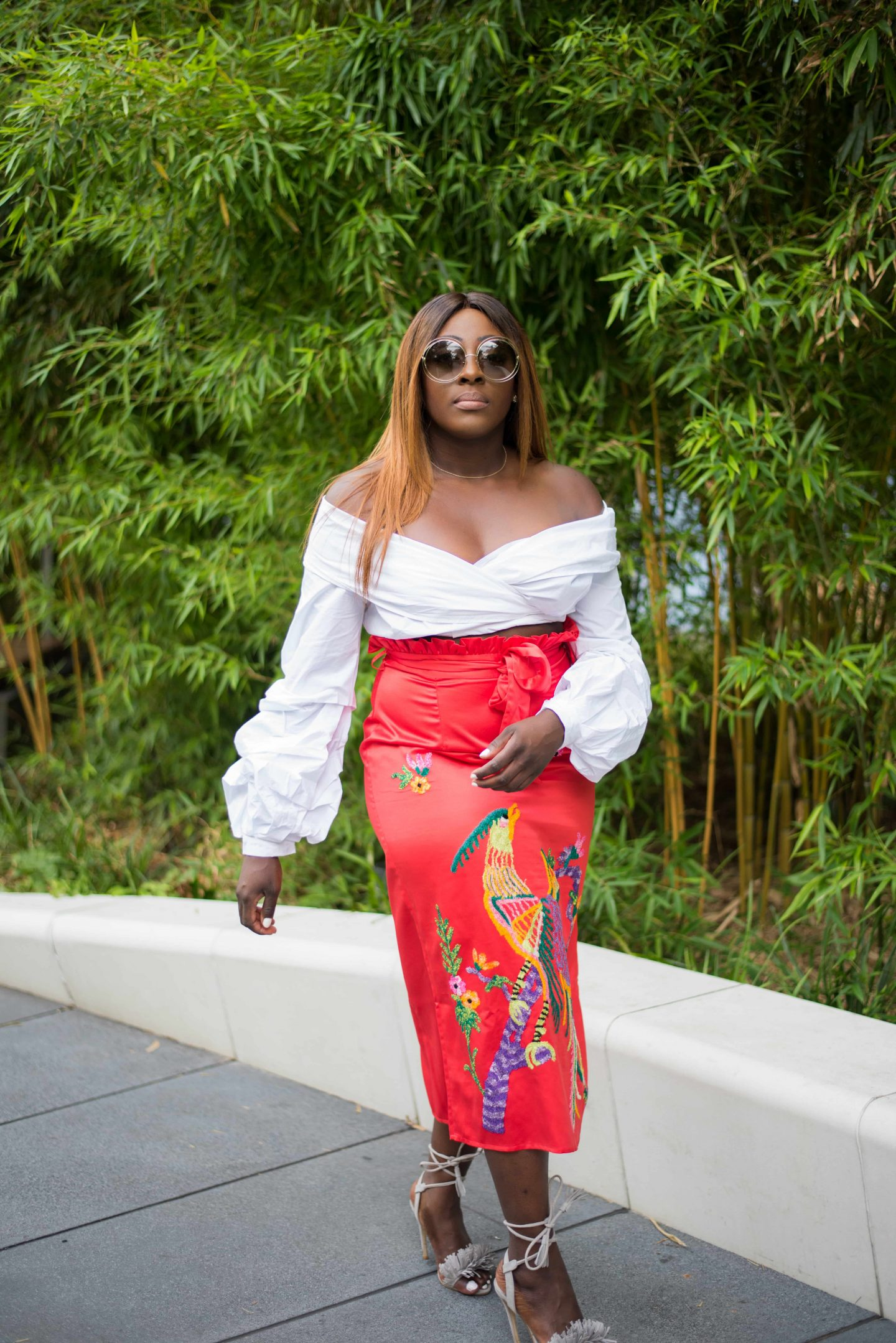 Statement Skirts & Tropical Roof Gardens 1 - asos white top - asos embroidery skirt - chloe sunglasses - Style and the Sass