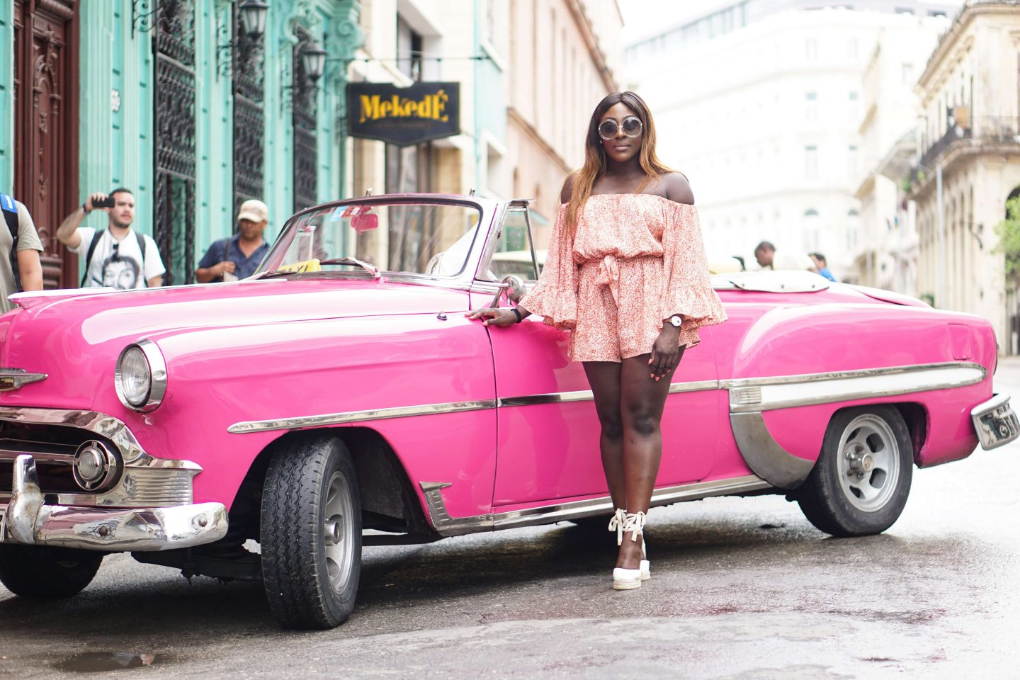A Girls Trip Guide to Cuba 2 - Back Streets - Castaner wedges - cmeo collective playsuit - Chloe sunglasses - Style and the Sass