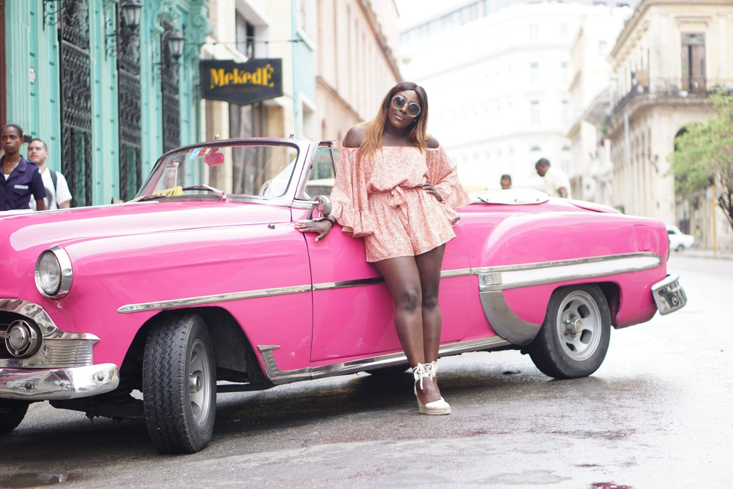 A Girls Trip Guide to Cuba 4 - Back Streets - Castaner wedges - cmeo collective playsuit - Chloe sunglasses - Style and the Sass