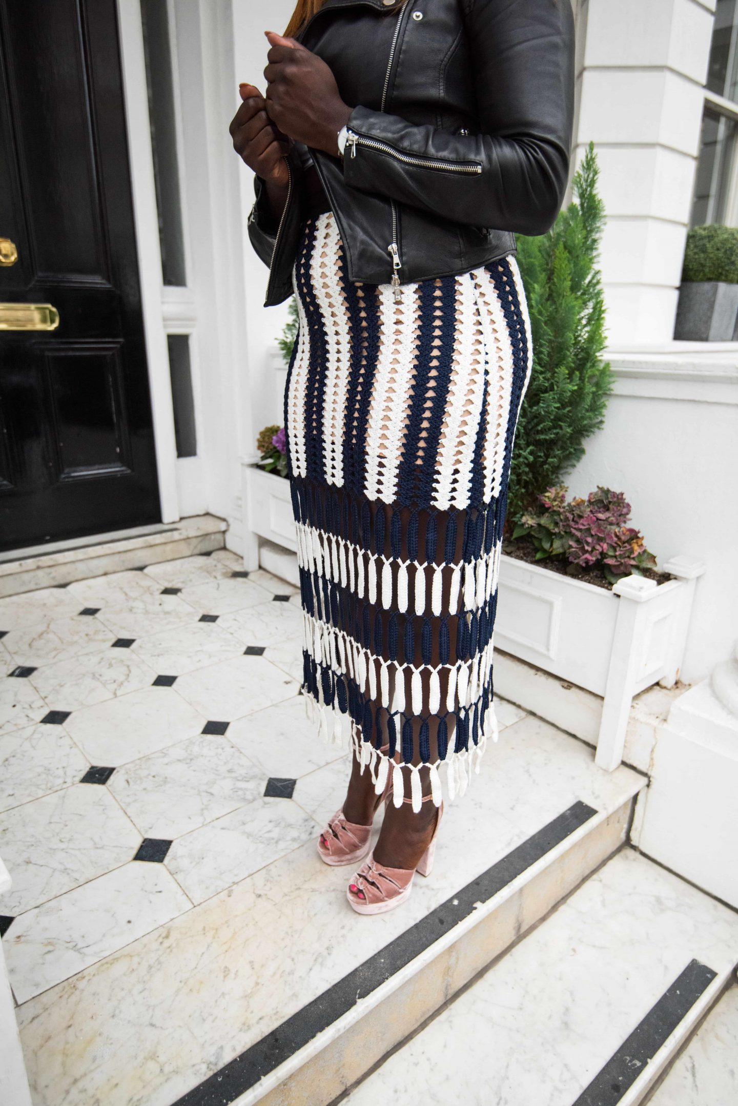 Self-Portrait Obsessions & Crochet-knits 8 - Midi skirt - Zara leather jacket - aquazzura velvet heels - Style and the Sass