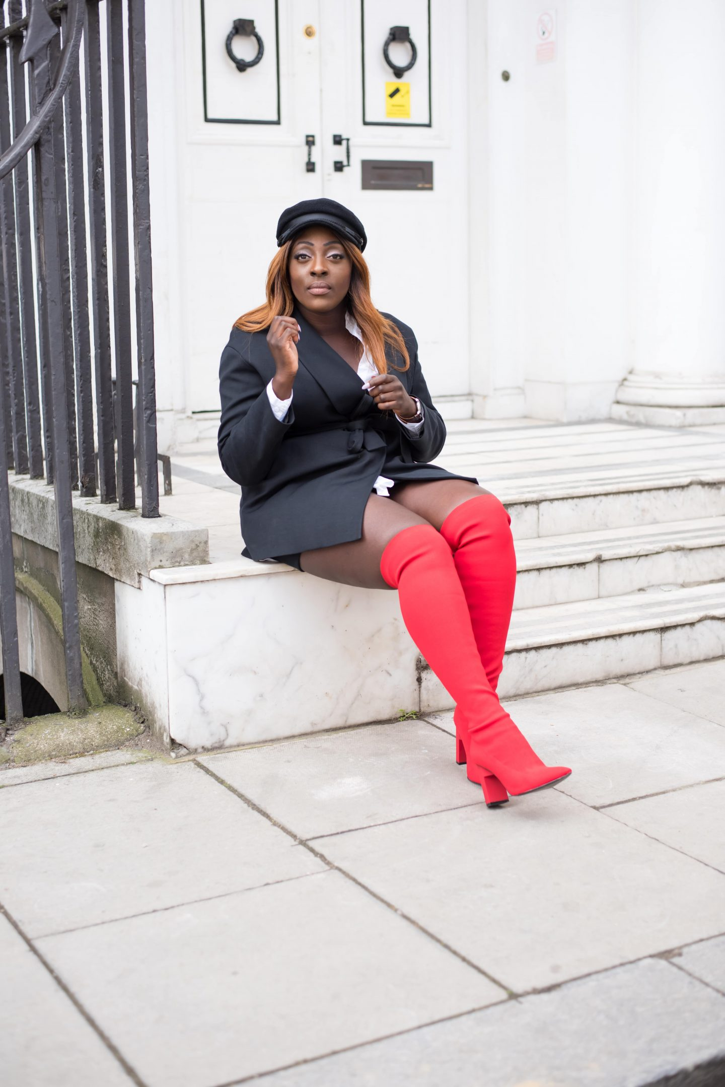 Over-the-Knee Sock Boot Sass 2 - Zara boots - asos baker boy hat - cos black jacket - style and the sass