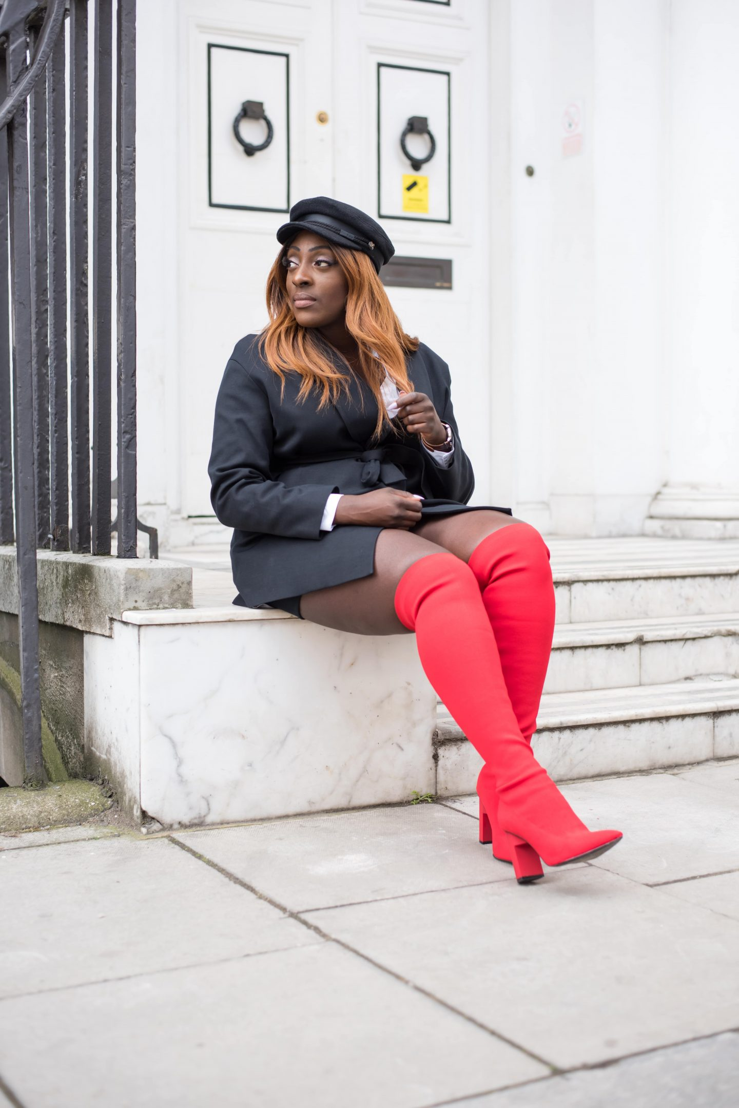 Over-the-Knee Sock Boot Sass 4 - Zara boots - asos baker boy hat - cos black jacket - style and the sass