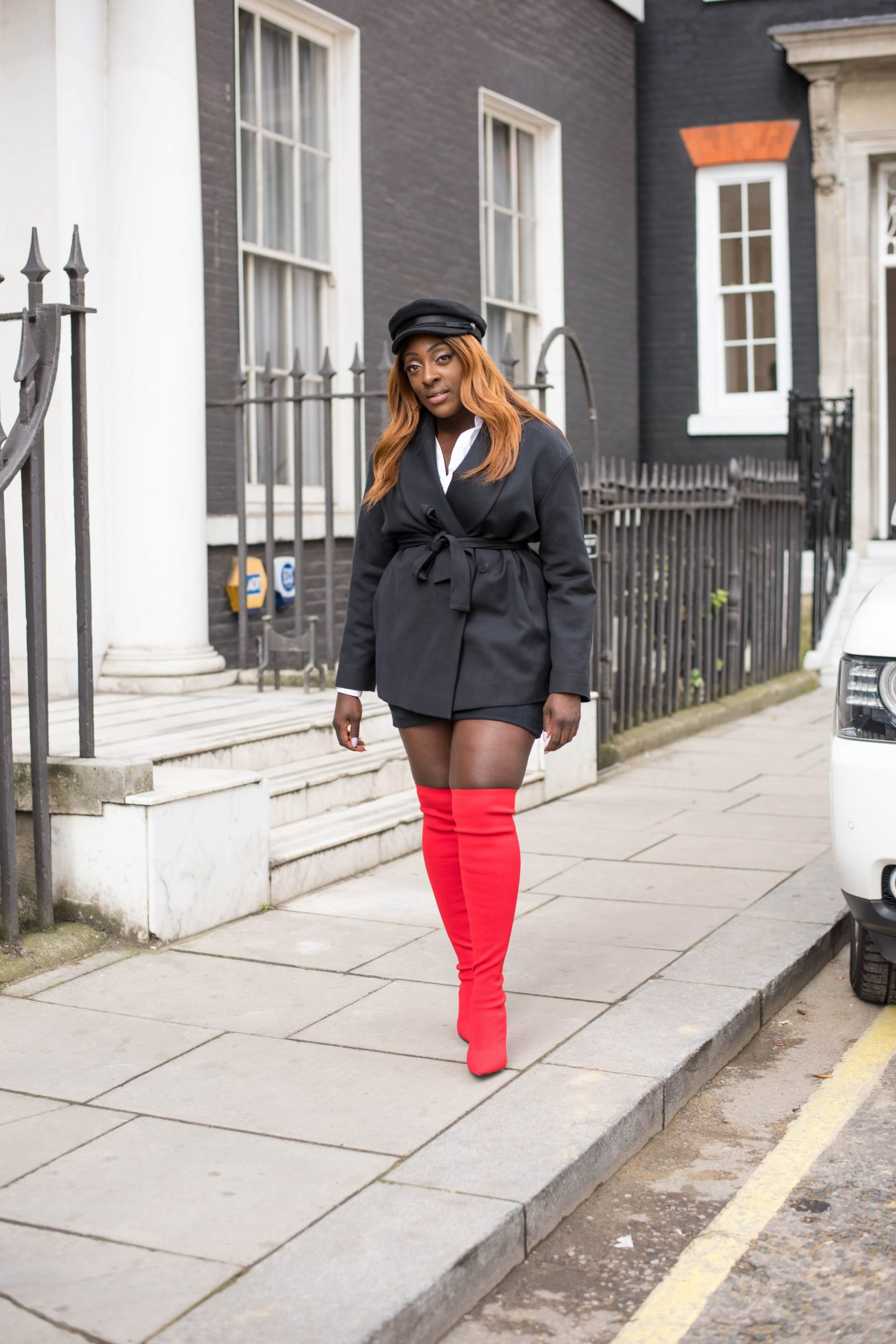Over-the-Knee Sock Boot Sass 3 - Zara boots - asos baker boy hat - cos black jacket - style and the sass
