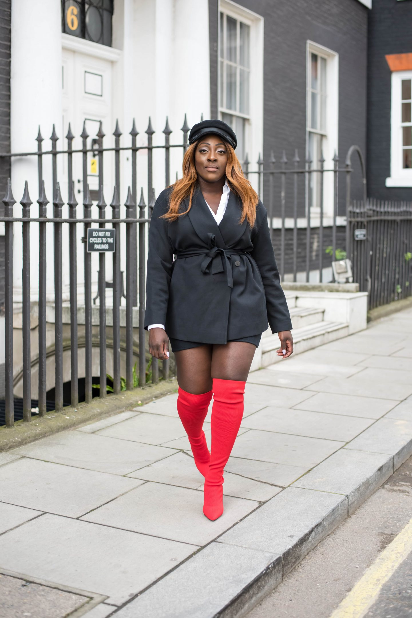 Over-the-Knee Sock Boot Sass 5 - Zara boots - asos baker boy hat - cos black jacket - style and the sass