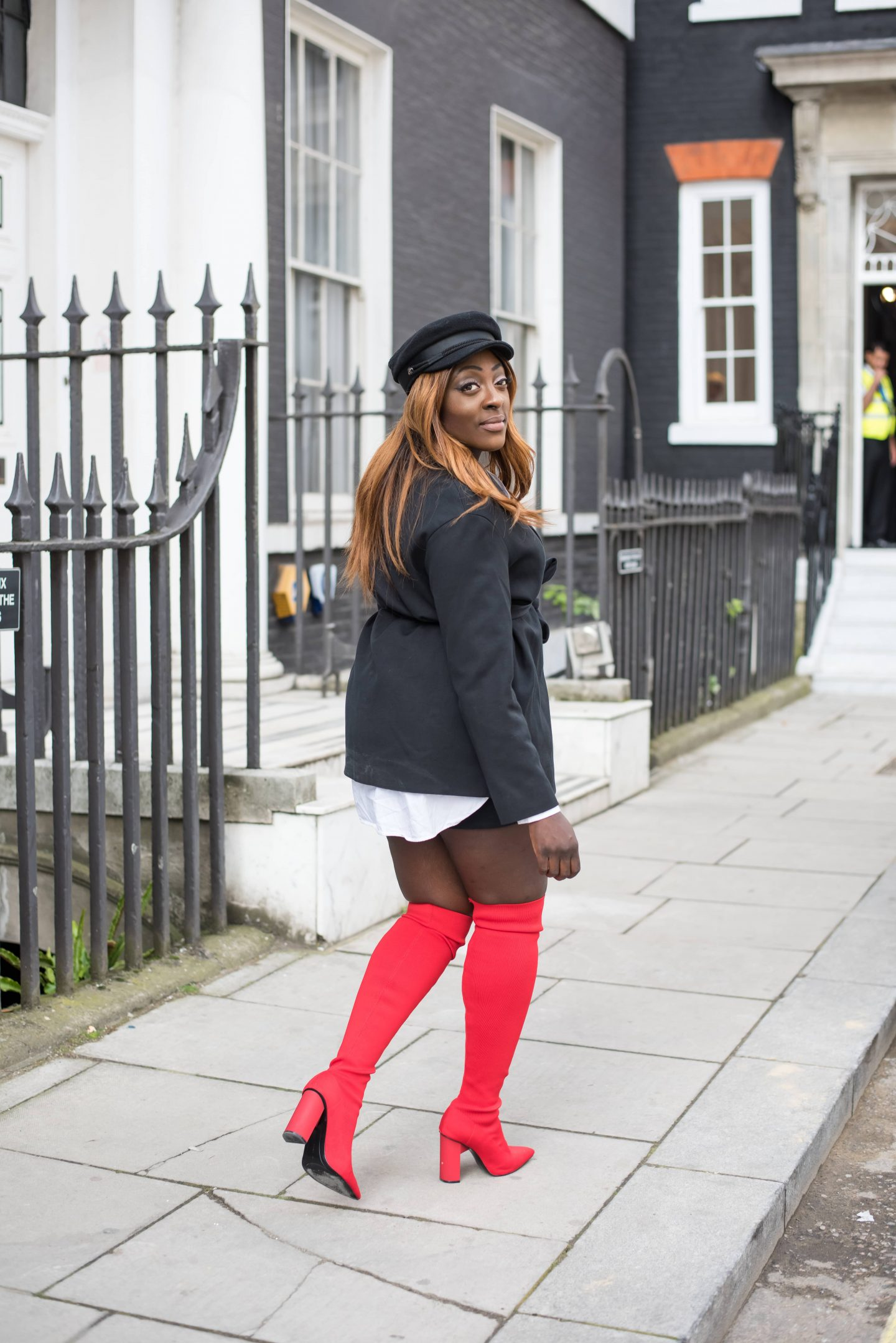 Over-the-Knee Sock Boot Sass 6 - Zara boots - asos baker boy hat - cos black jacket - style and the sass