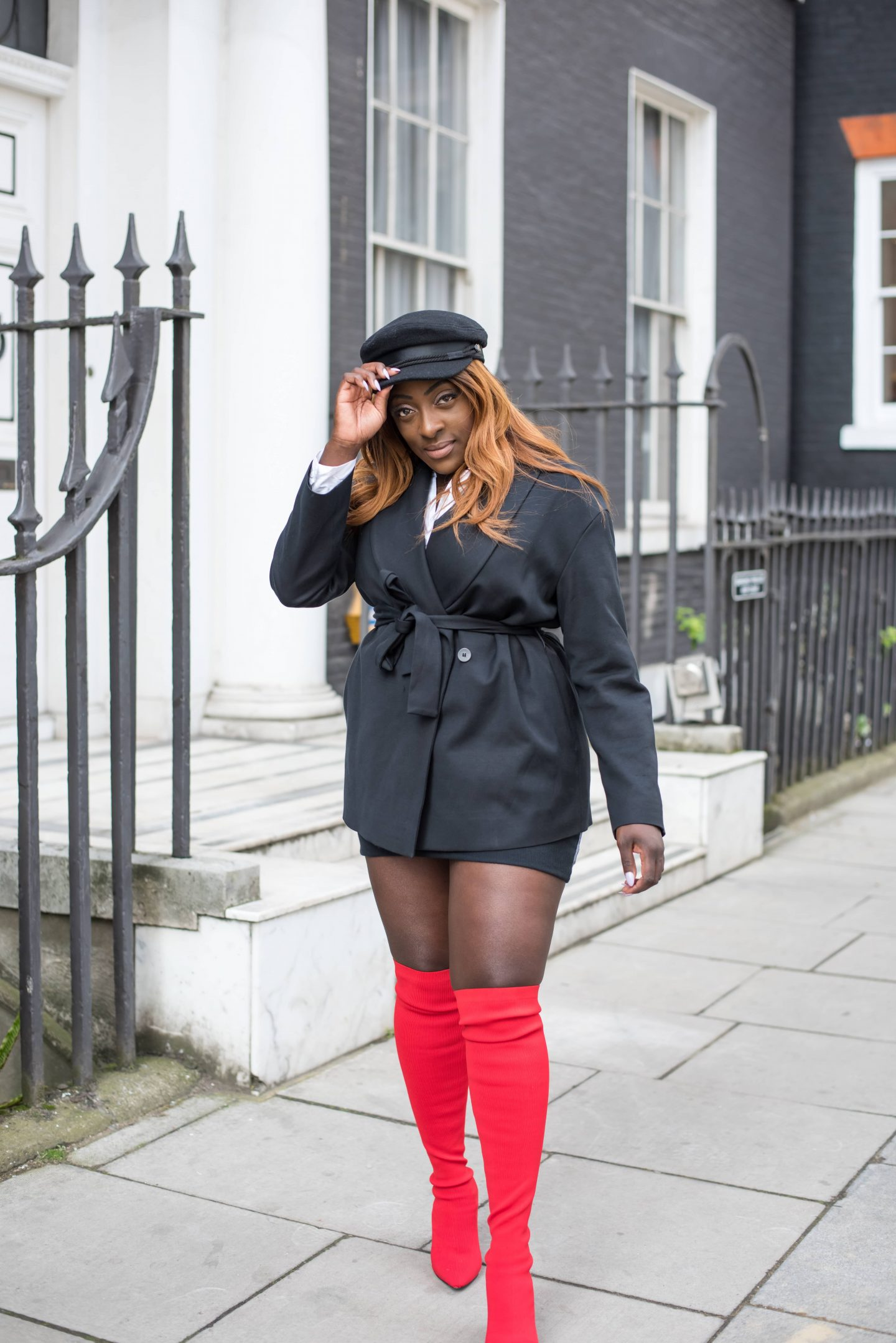 Over-the-Knee Sock Boot Sass - Zara boots - asos baker boy hat - cos black jacket - style and the sass