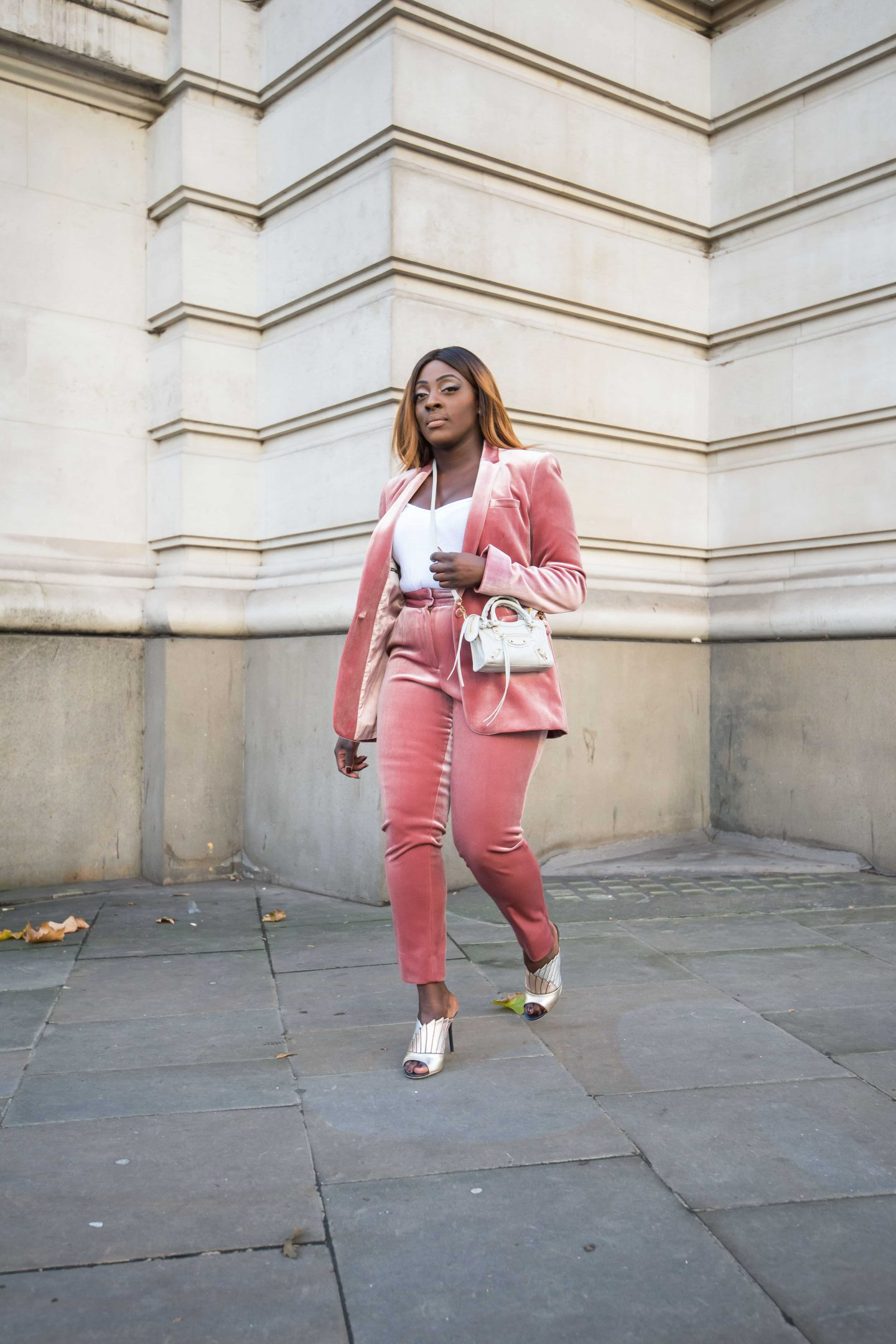 How to Style the Balenciaga Mini Bag - belenciaga city bag -top shop velvet suit - malone souliers donna metalic mules - Style and the Sass