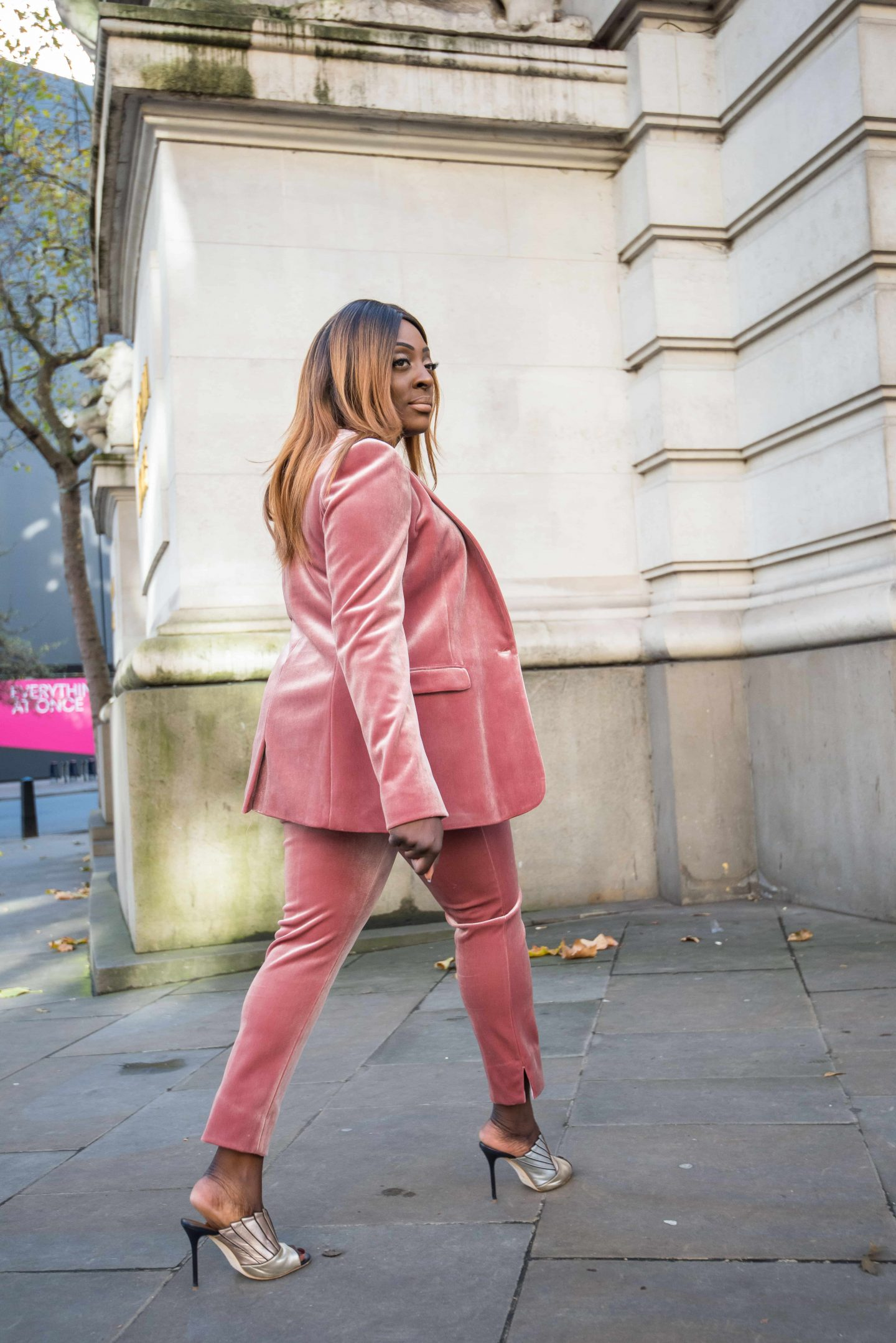 How to Style the Balenciaga Mini Bag 3 - belenciaga city bag -top shop velvet suit - malone souliers donna metalic mules - Style and the Sass