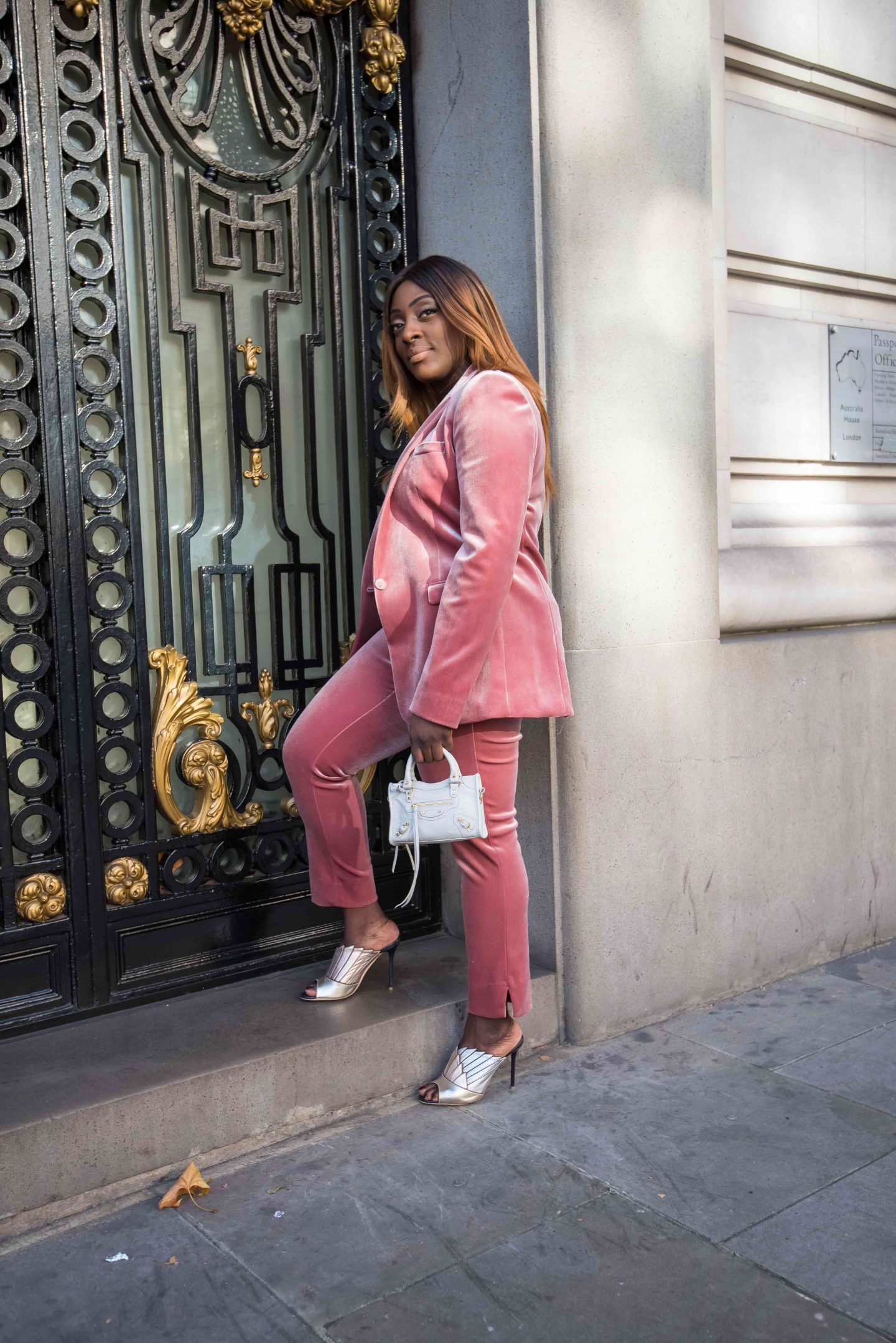 How to Style the Balenciaga Mini Bag 2 - belenciaga city bag -top shop velvet suit - malone souliers donna metalic mules - Style and the Sass