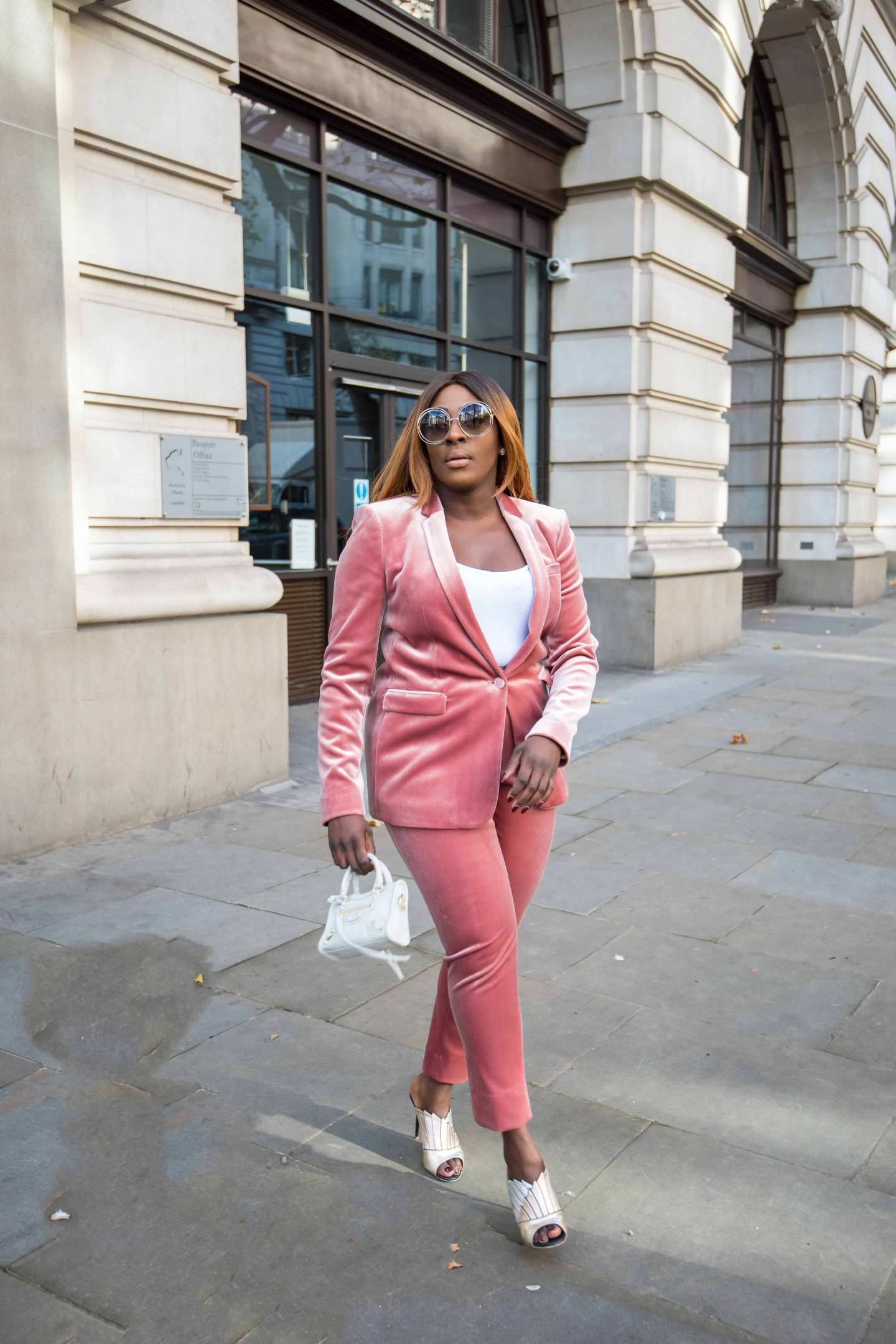How to Style the Balenciaga Mini Bag 6 - belenciaga city bag -top shop velvet suit - malone souliers donna metalic mules - Style and the Sass