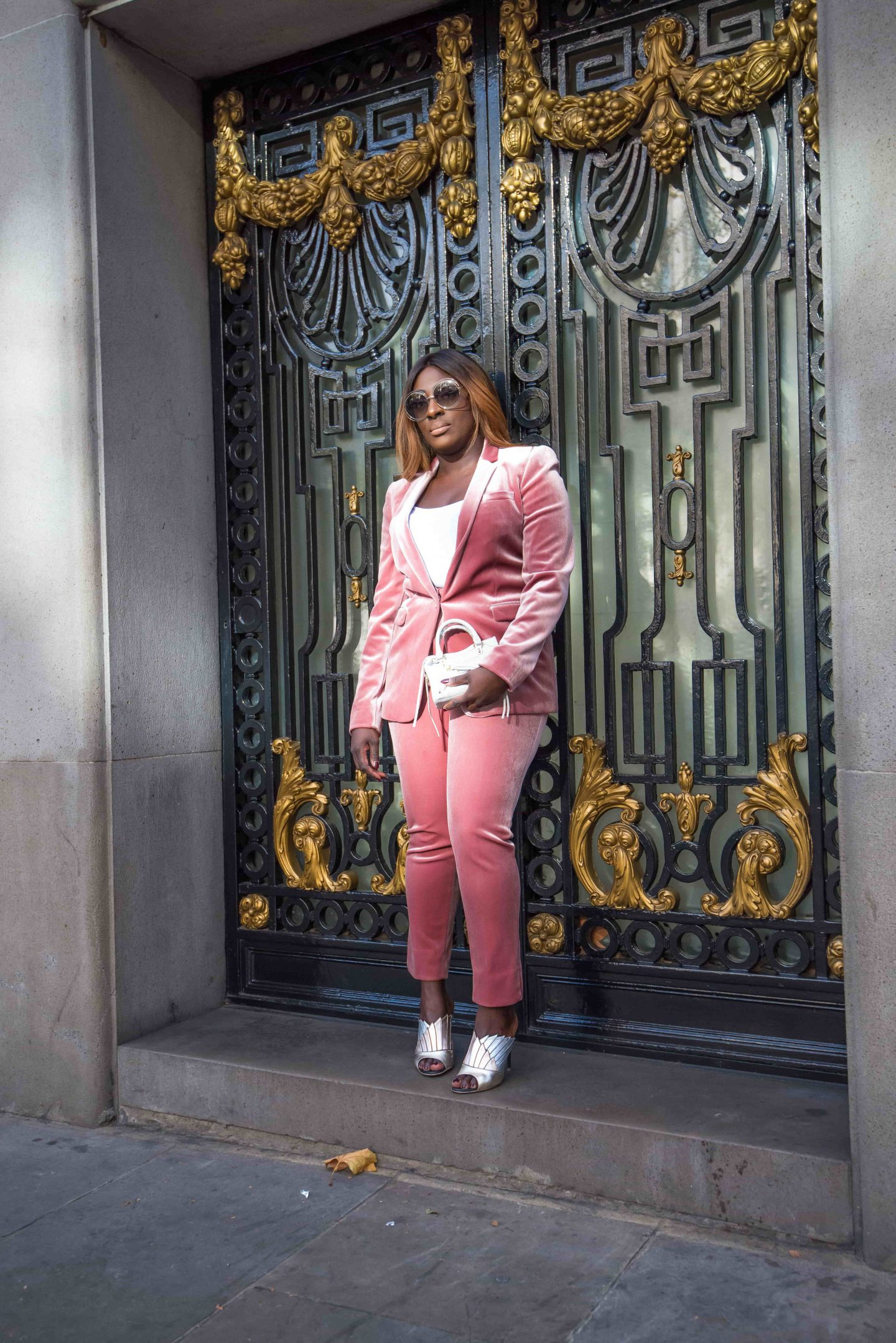 How to Style the Balenciaga Mini Bag 5 - belenciaga city bag -top shop velvet suit - malone souliers donna metalic mules - Style and the Sass