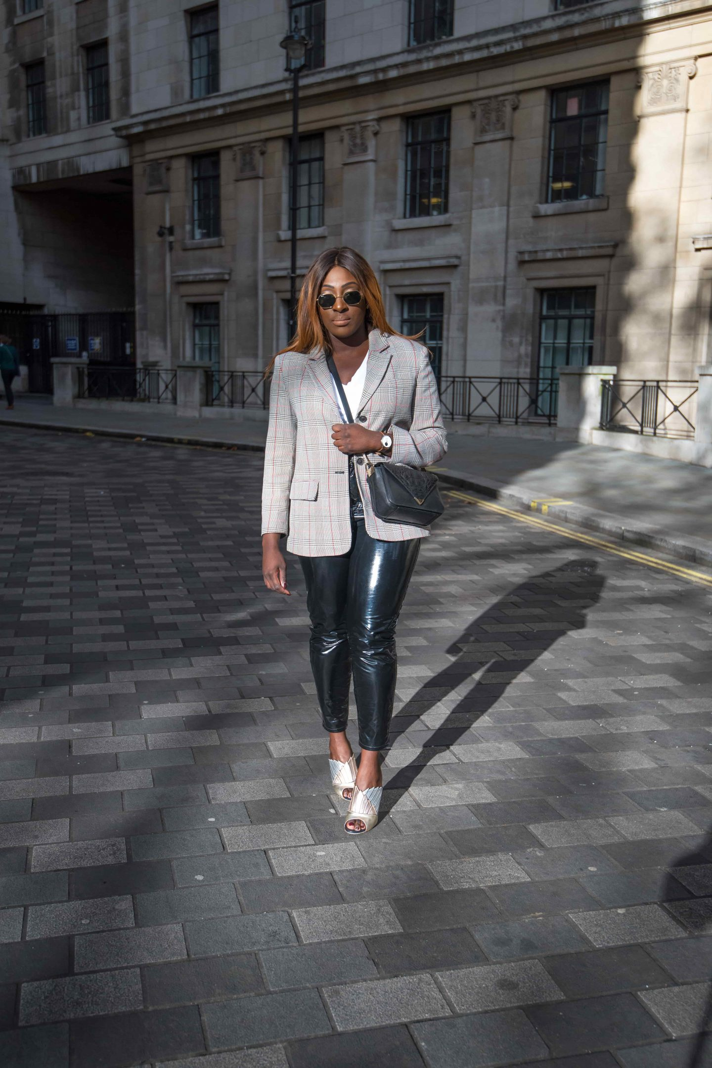 Autumn Workwear & The Vinyl Affect 1 - Zara check blazer - Alexander Wang Bag - vinyl trousers - malone soulier mules - Style and the Sass