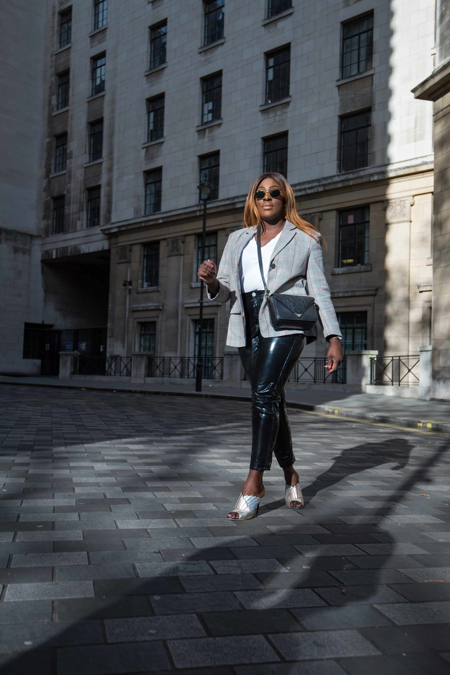 Autumn Workwear & The Vinyl Affect 3 - Zara check blazer - Alexander Wang Bag - vinyl trousers - malone soulier mules - Style and the Sass
