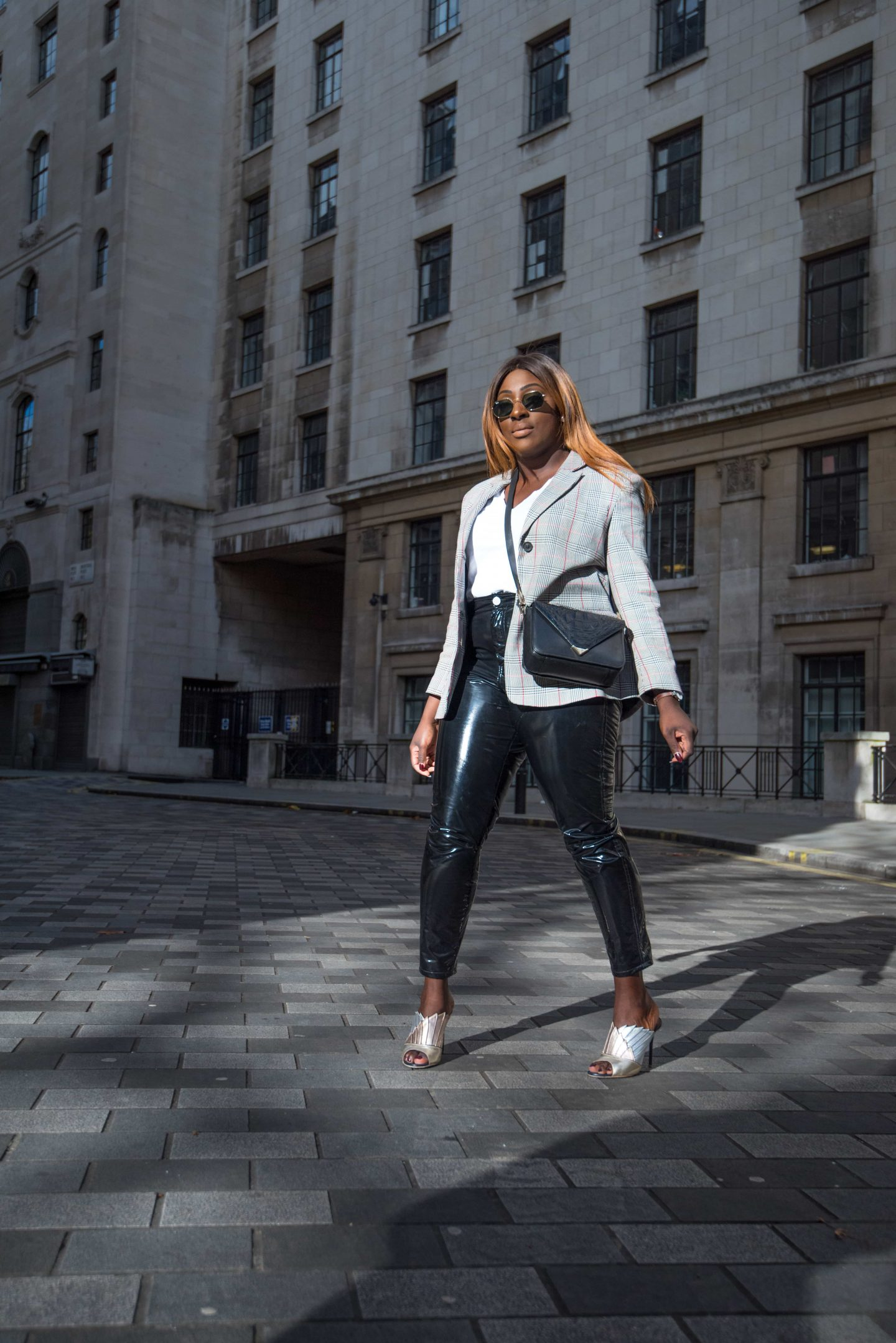 Autumn Workwear & The Vinyl Affect 4 - Zara check blazer - Alexander Wang Bag - vinyl trousers - malone soulier mules - Style and the Sass