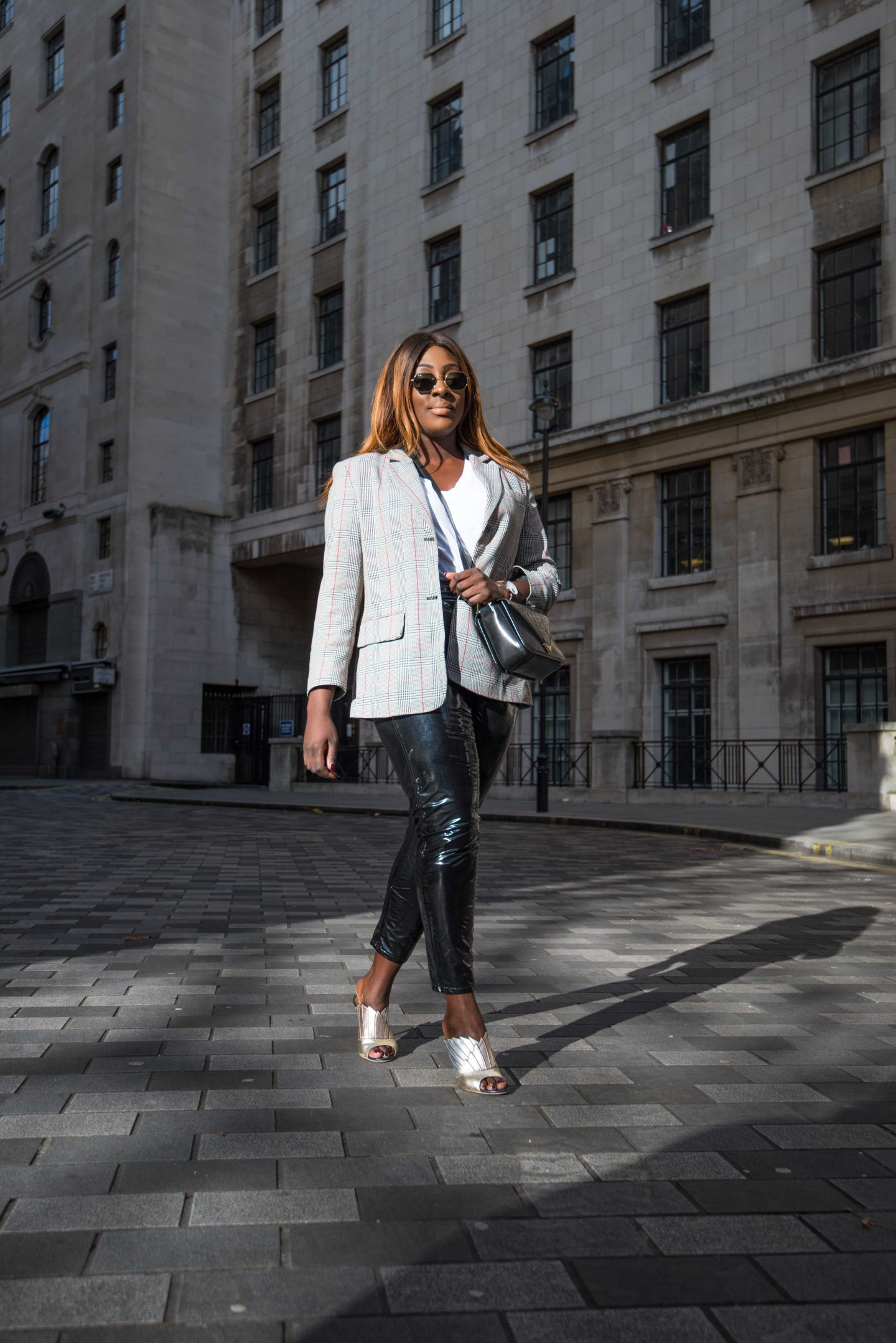 Autumn Workwear & The Vinyl Affect 6 - Zara check blazer - Alexander Wang Bag - vinyl trousers - malone soulier mules - Style and the Sass