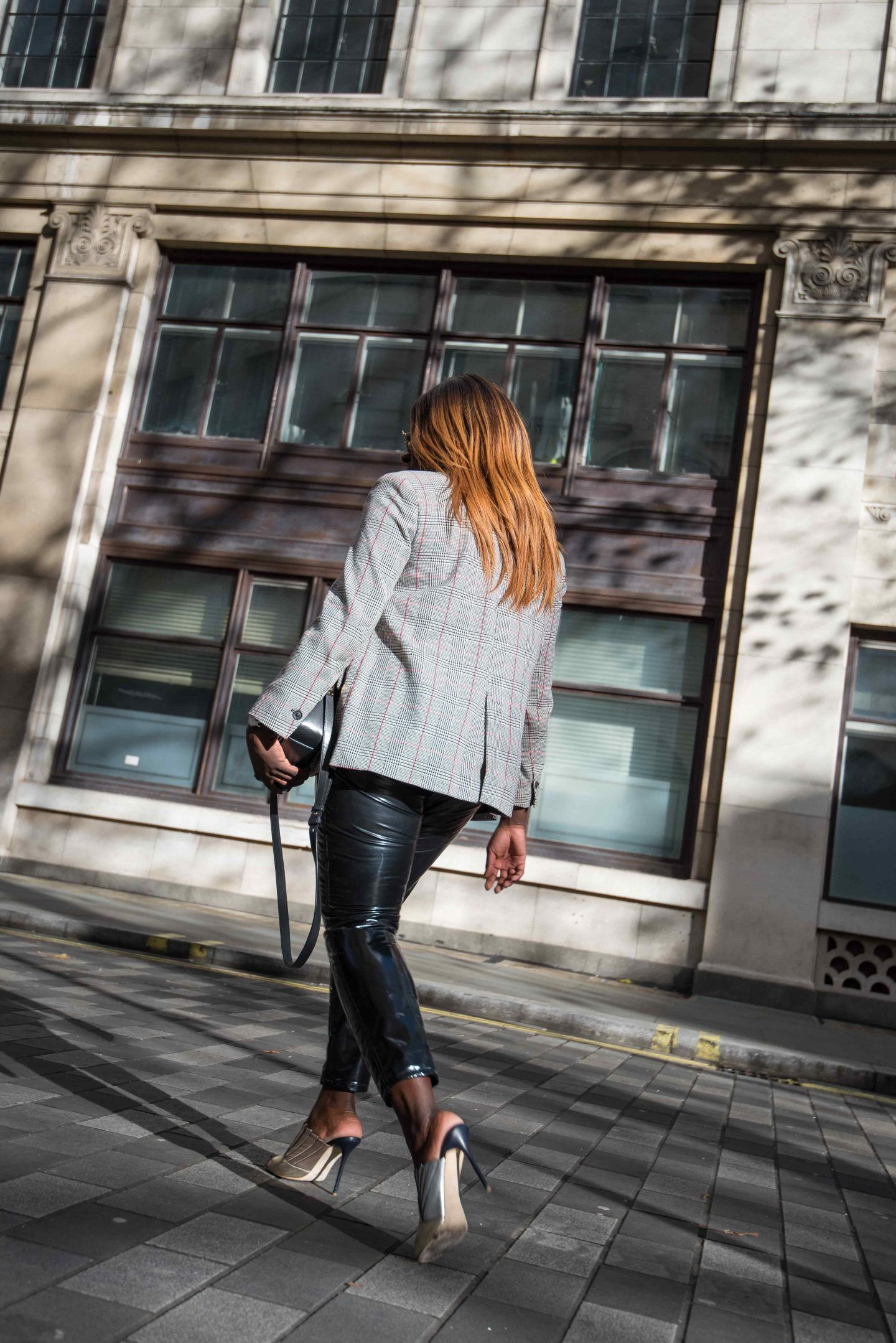 Autumn Workwear & The Vinyl Affect 8 - Zara check blazer - Alexander Wang Bag - vinyl trousers - malone soulier mules - Style and the Sass