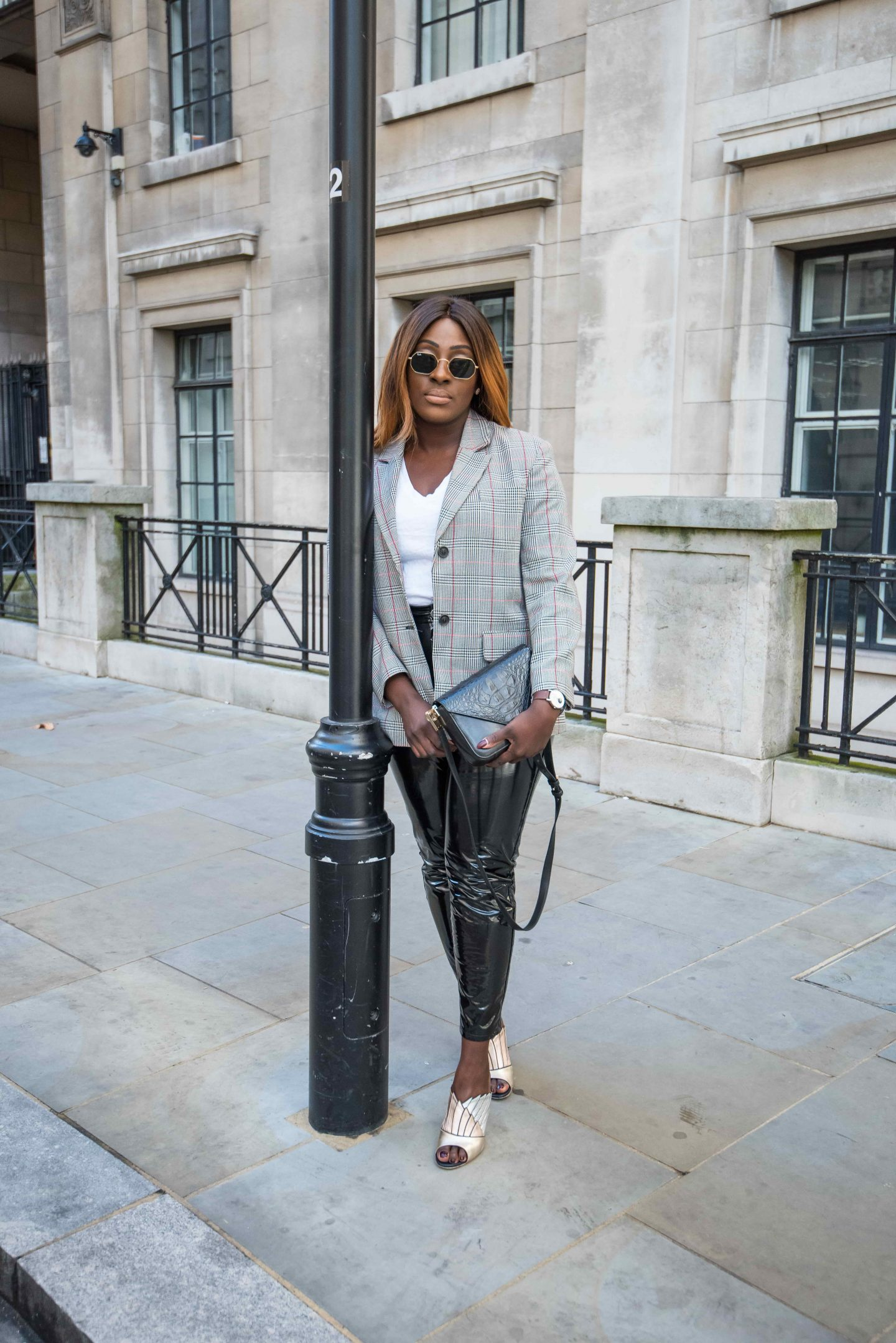 Autumn Workwear & The Vinyl Affect 7 - Zara check blazer - Alexander Wang Bag - vinyl trousers - malone soulier mules - Style and the Sass