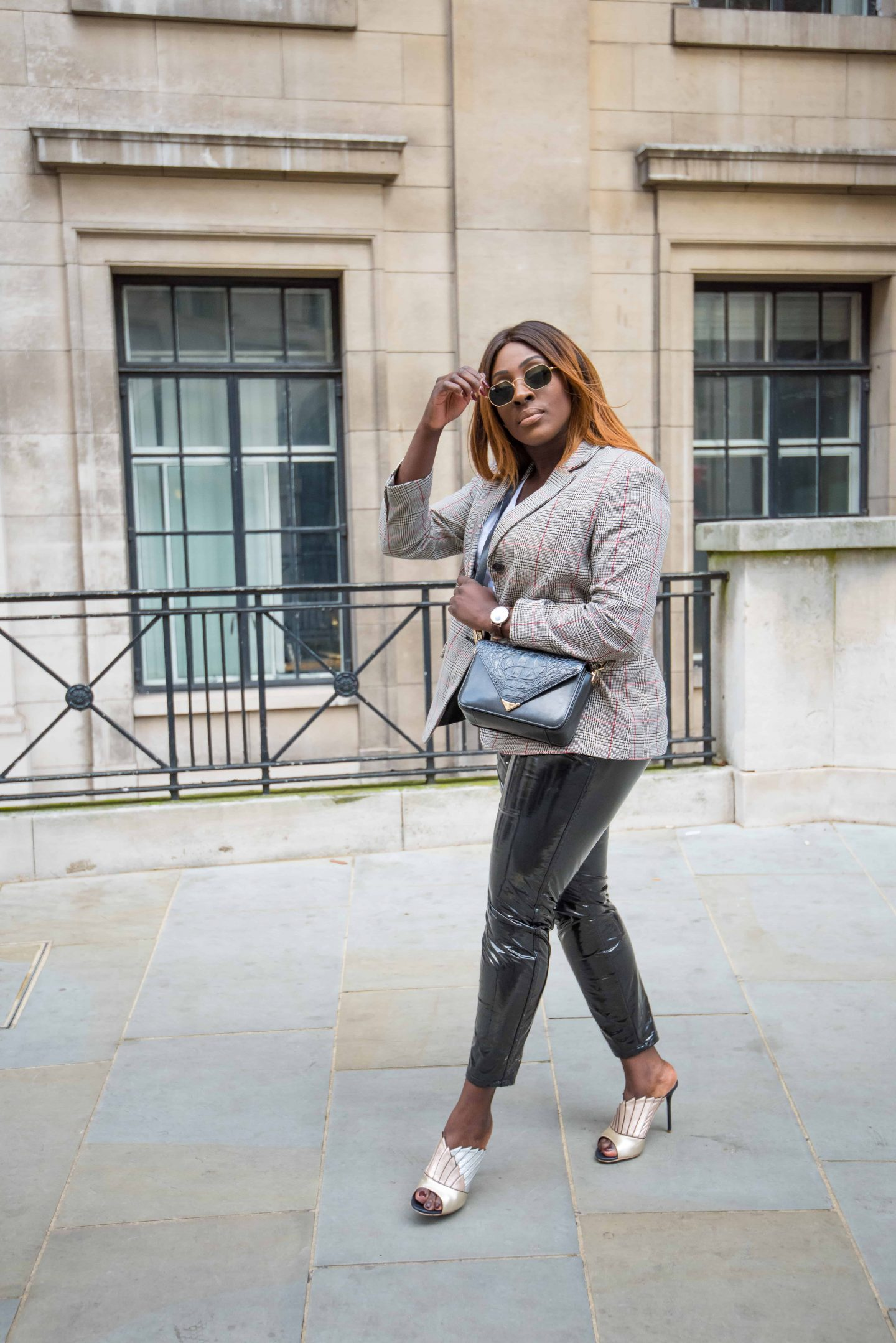 Autumn Workwear & The Vinyl Affect 2 - Zara check blazer - Alexander Wang Bag - vinyl trousers - malone soulier mules - Style and the Sass