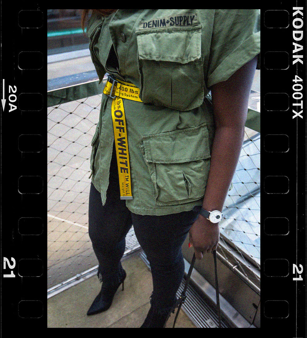 Statement Belts X Off-White 2 - Kodak - Off-White Industrial Belt - Les Specs Last Lolita - Top Shop Sock boots - Alexander Wang Prisma Bag - Style and the Sass