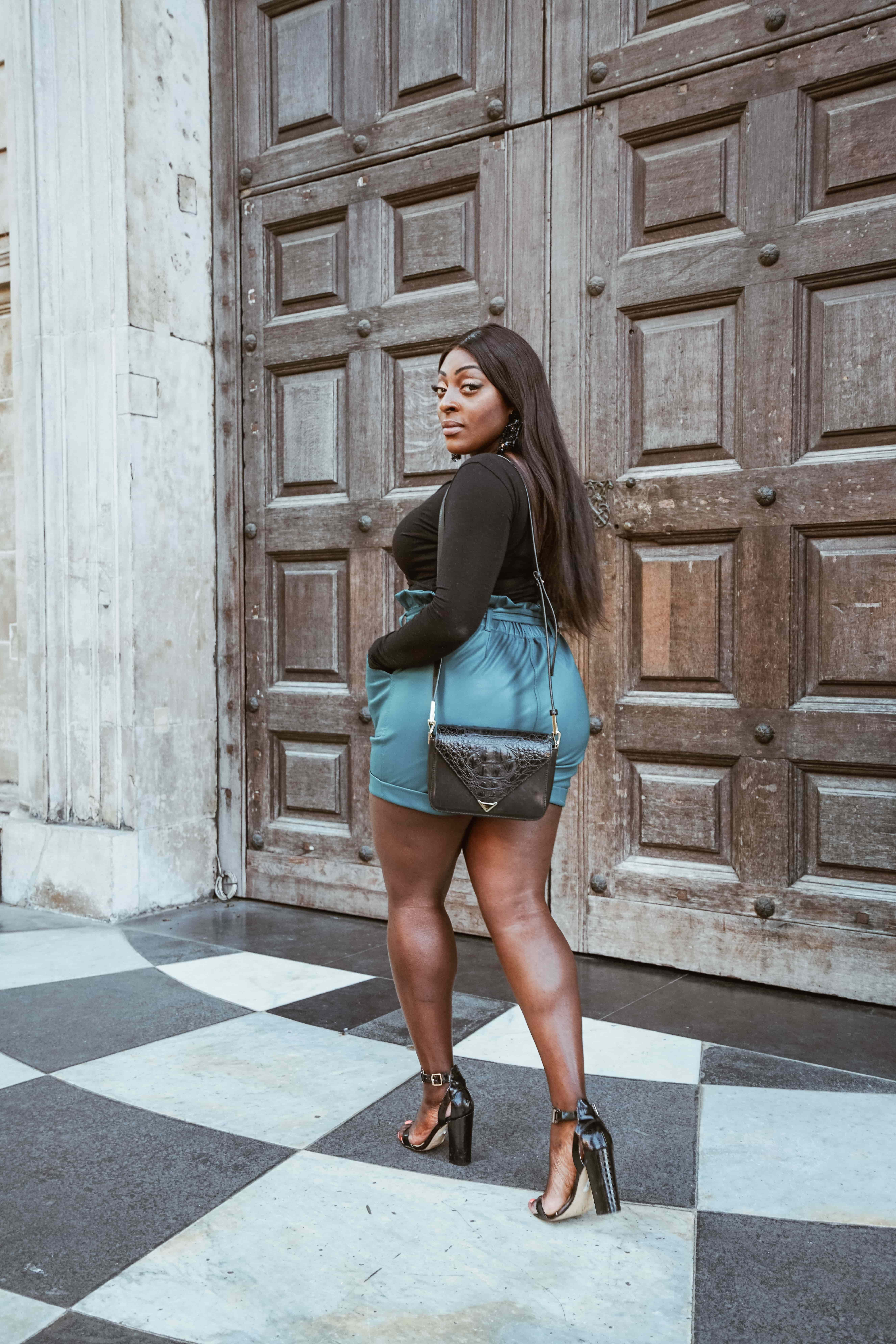 Back Like I Never Left! 7 - River Island lather shorts - teal paper bag shorts - asos warp top - Style and the Sass