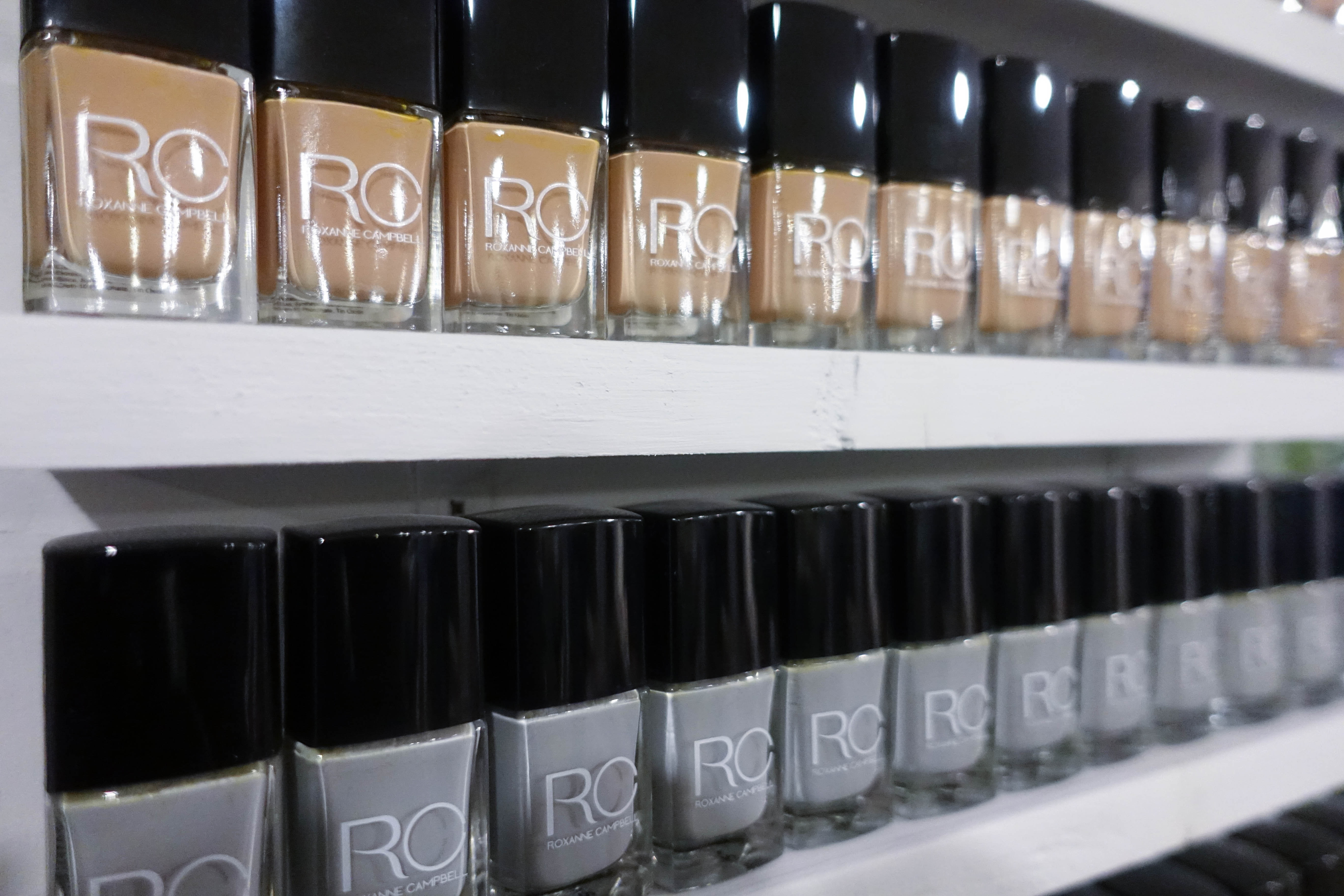 beige and grey nail polish wall stand - roxanne campbell - style and the sass