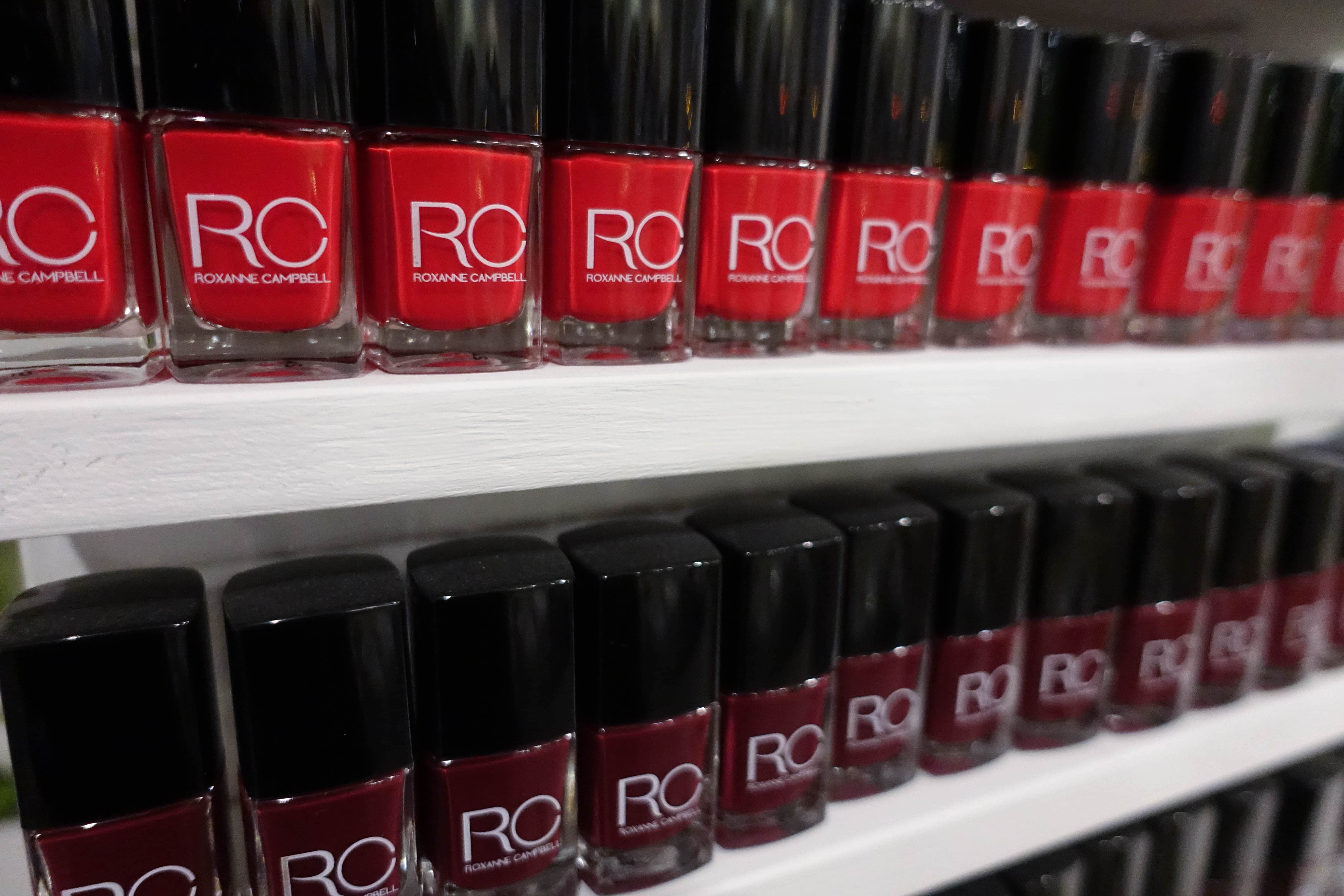 red and brown nail polish wall stand - roxanne campbell - style and the sass