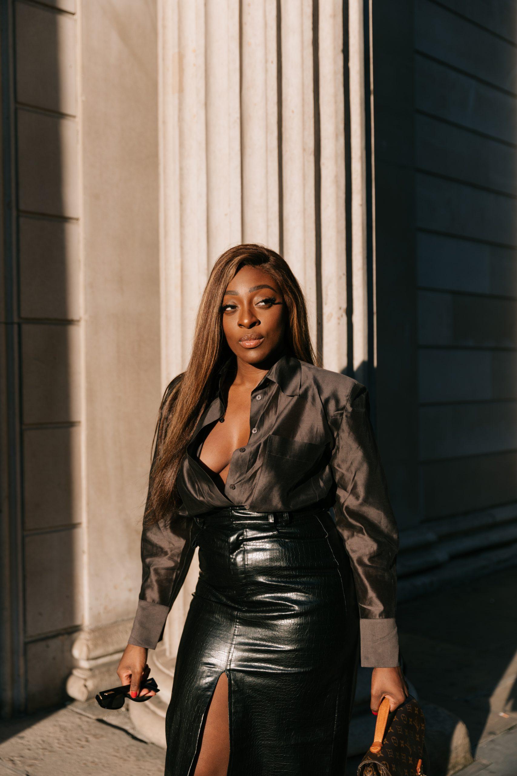 Faux leather skirt zara - chocolate brown silk blouse massimo dutti 6 - close up