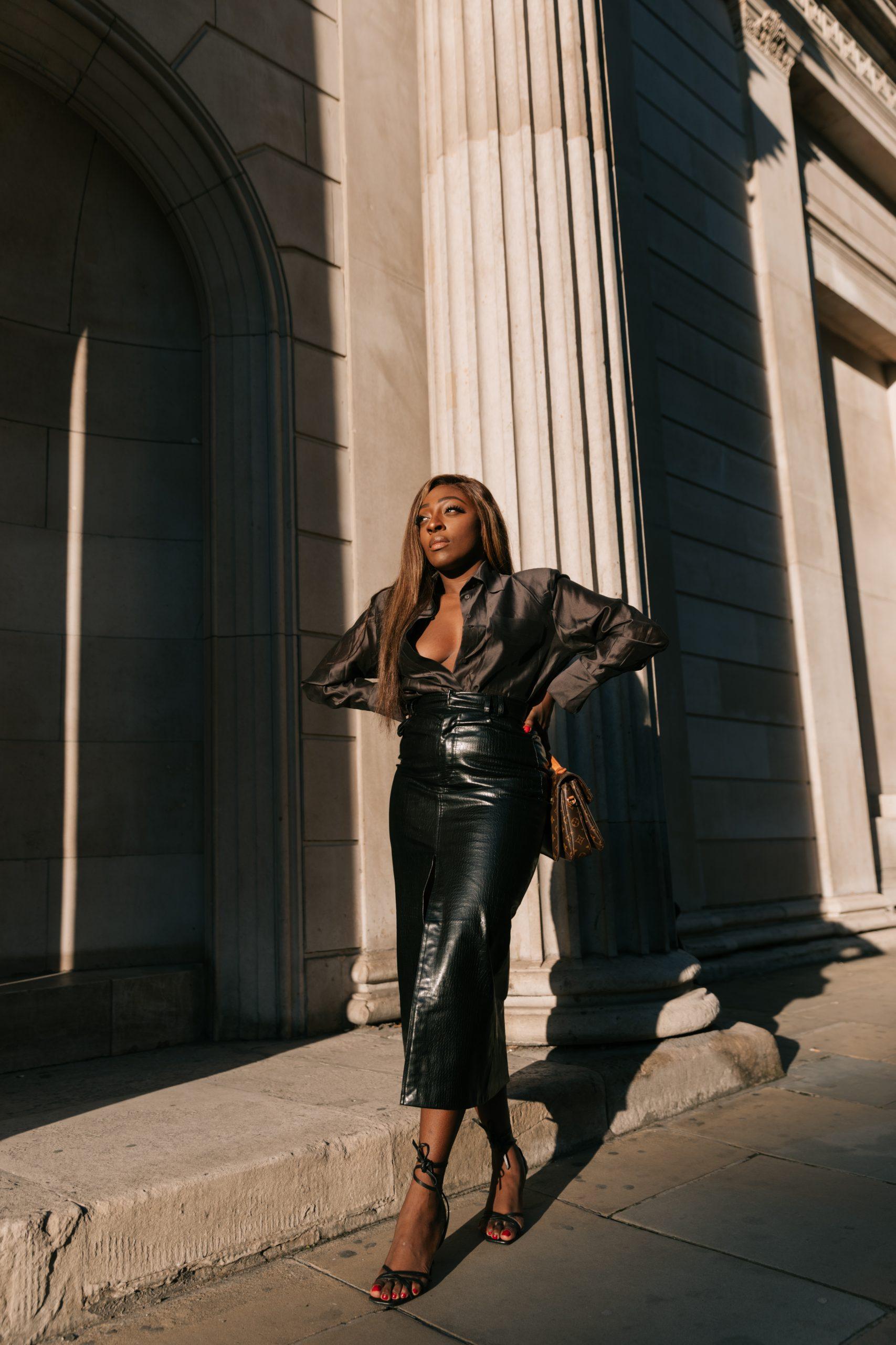 Faux leather skirt zara - chocolate brown silk blouse massimo dutti 4