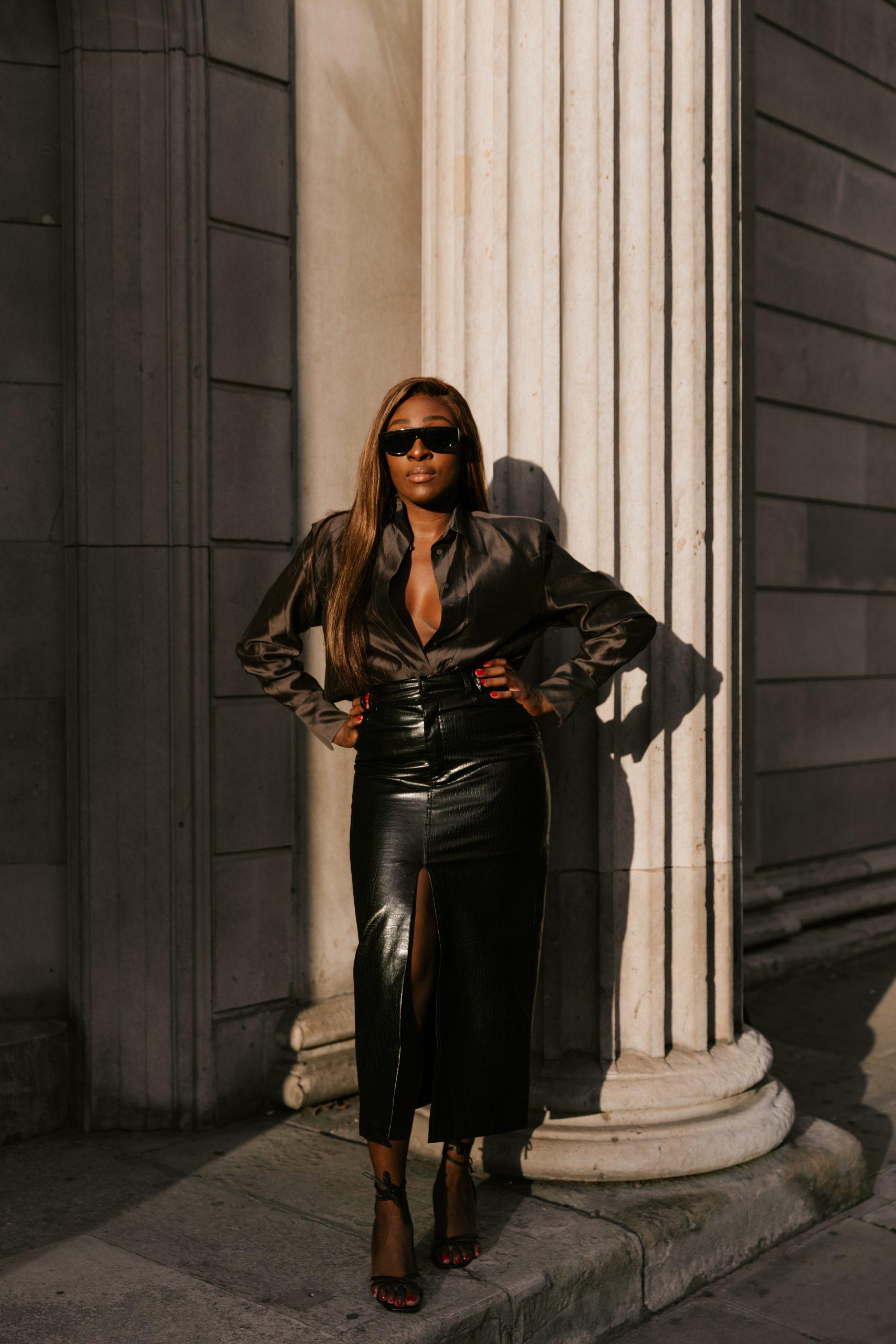 Faux leather skirt zara - chocolate brown silk blouse massimo dutti 3 - Bottega Veneta Sunglasses