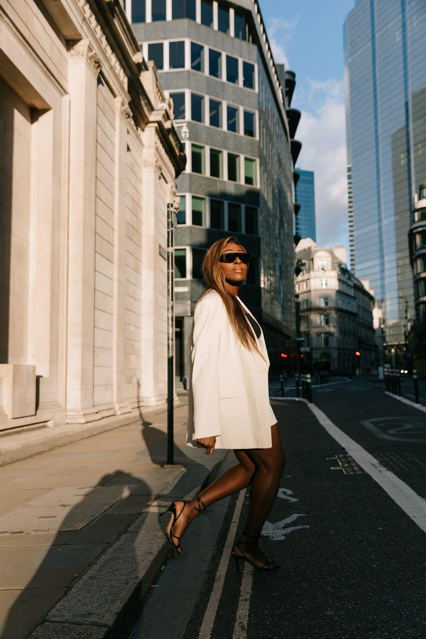 Oversized Blazers & Autumn Mini Skirts - Zara ecru blazer and mini skirt - Bottega Veneta Sunglasses - Tasha Antwi