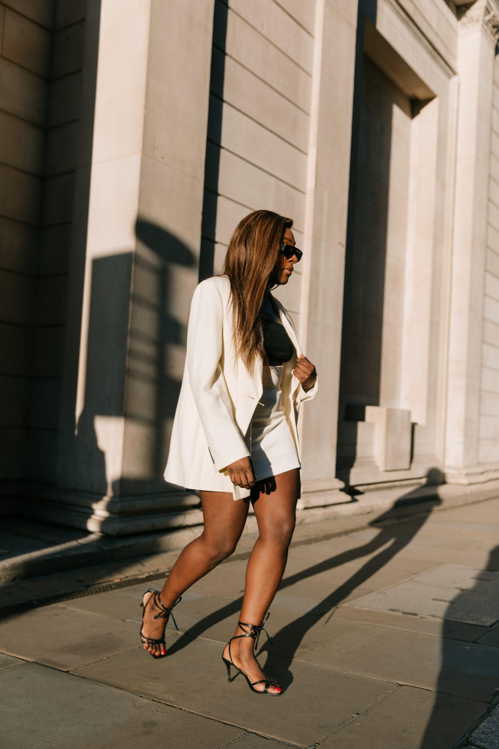 Oversized Blazers & Autumn Mini Skirts - Zara ecru blazer and strappy heels  - Bottega Veneta Sunglasses - Tasha Antwi