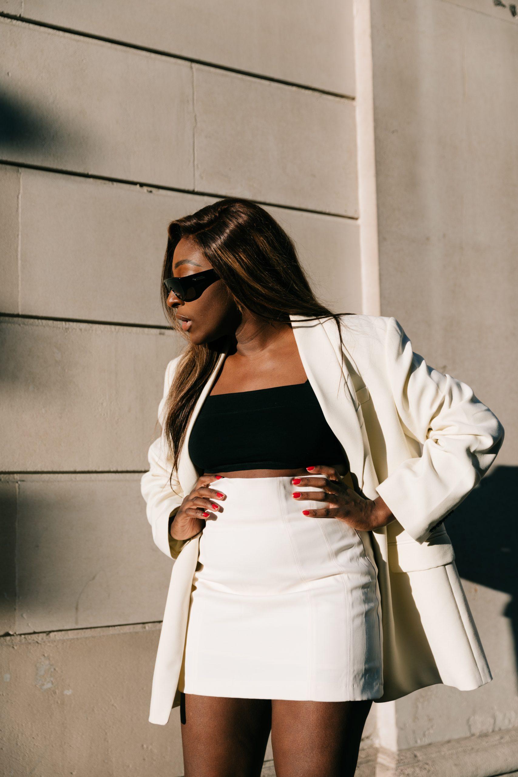 Oversized Blazers & Autumn Mini Skirts - Zara ecru blazer and strappy heels - Bottega Veneta Sunglasses - close up - Tasha Antwi