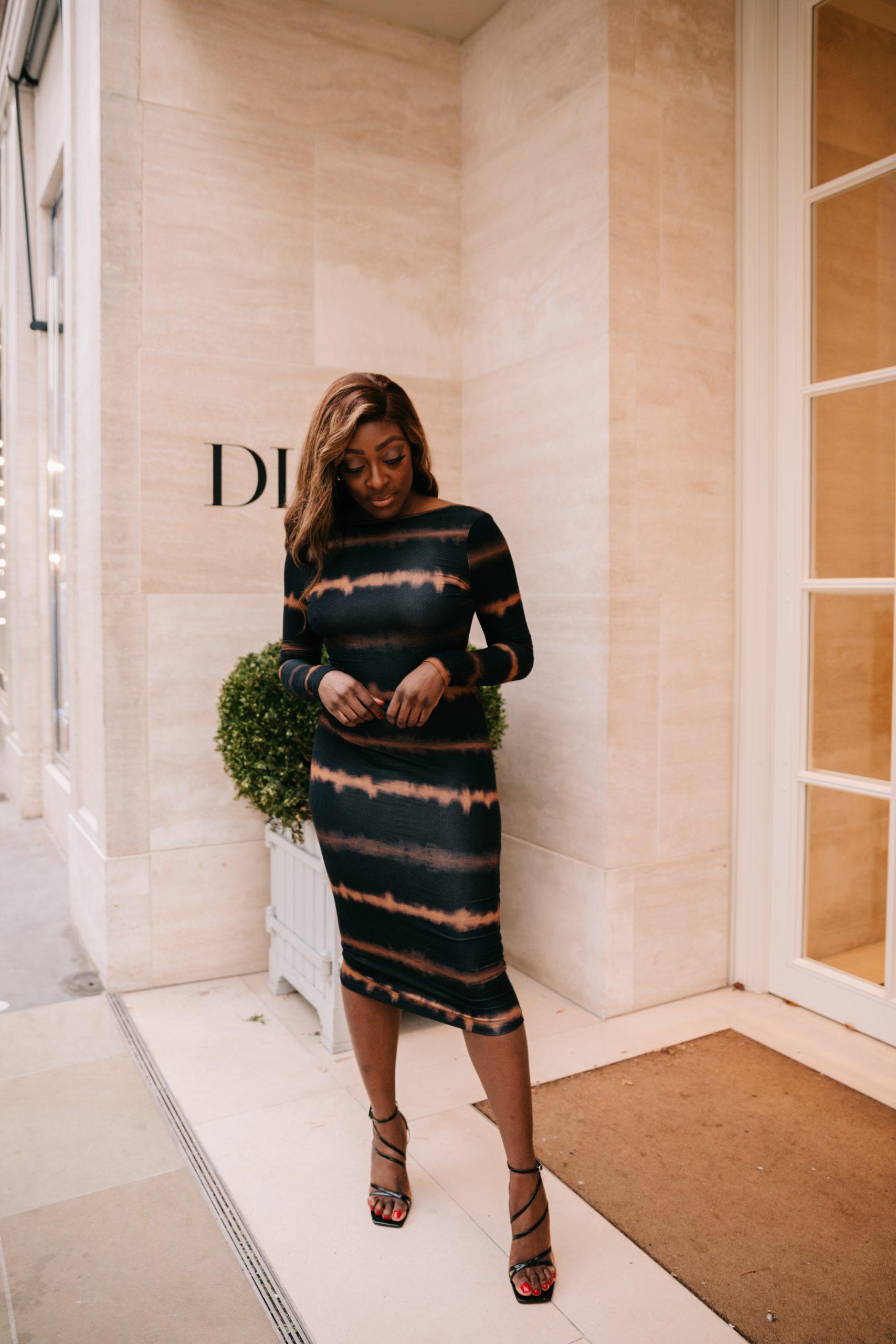 ASOS tie-dye midi dress - black strappy heels - Tasha Antwi