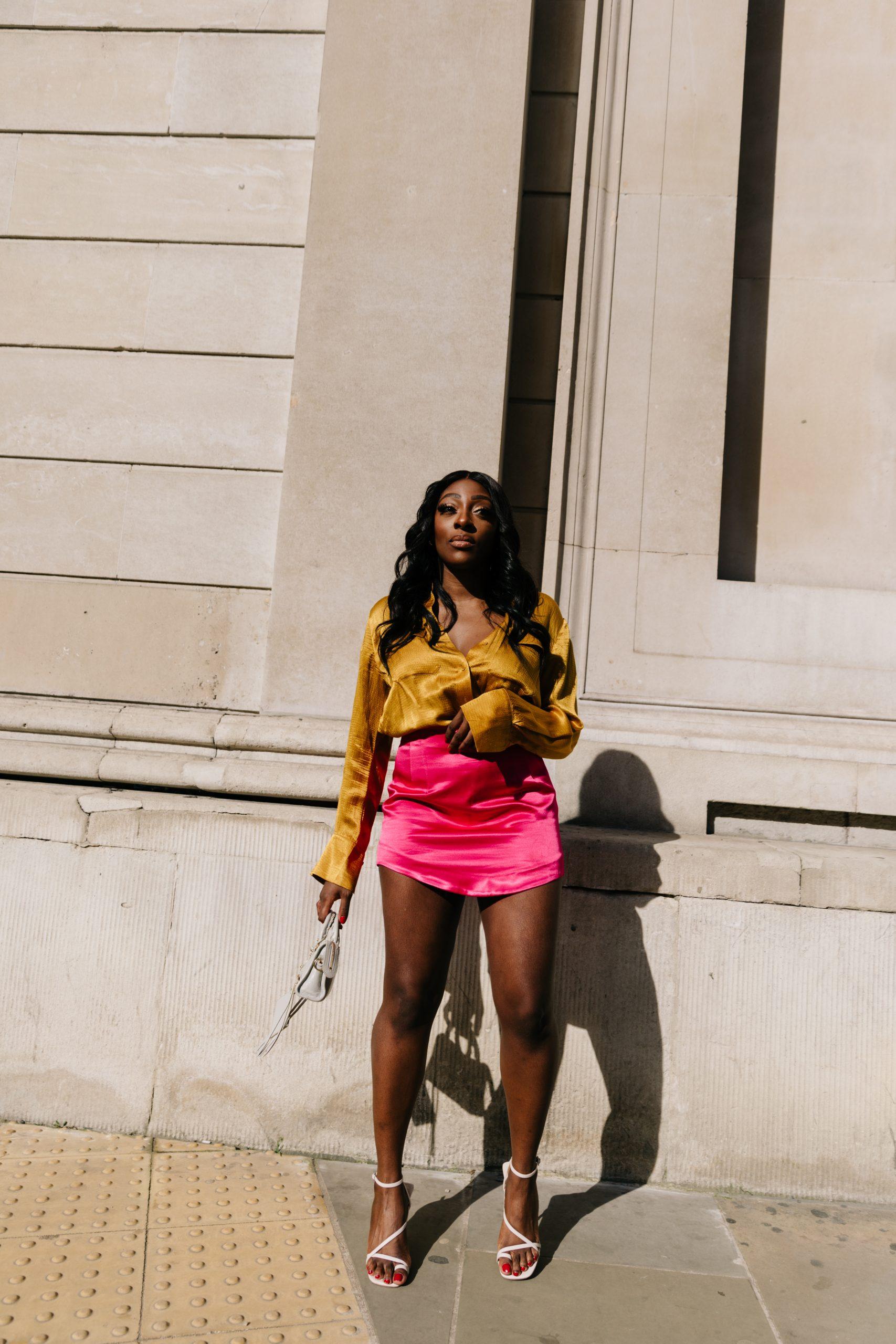 Satin-finish mini skirt Zara - Top shop sandals 3 -Tasha Antwi