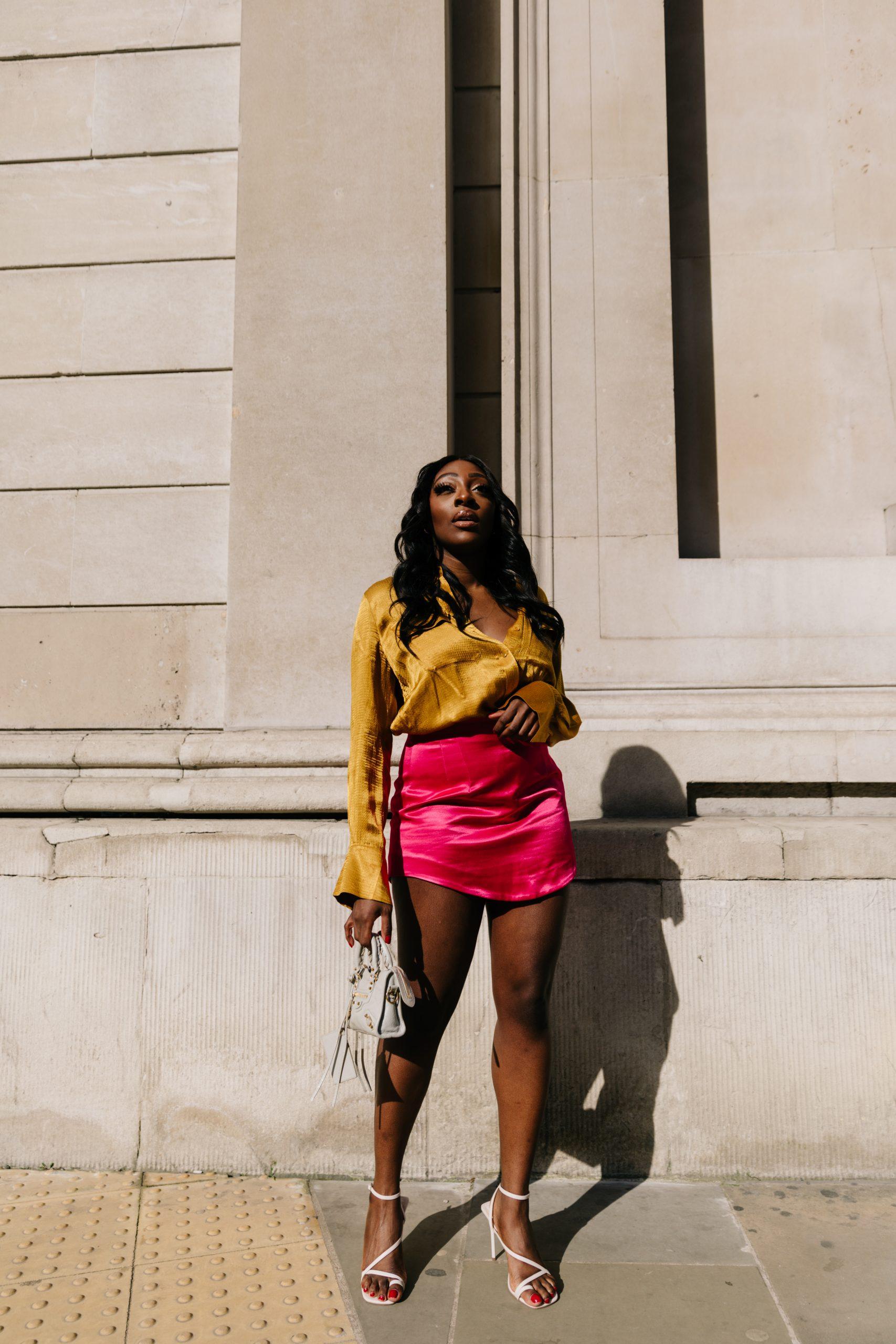 Satin-finish mini skirt Zara - Balenciaga Mini City 1 -Tasha Antwi