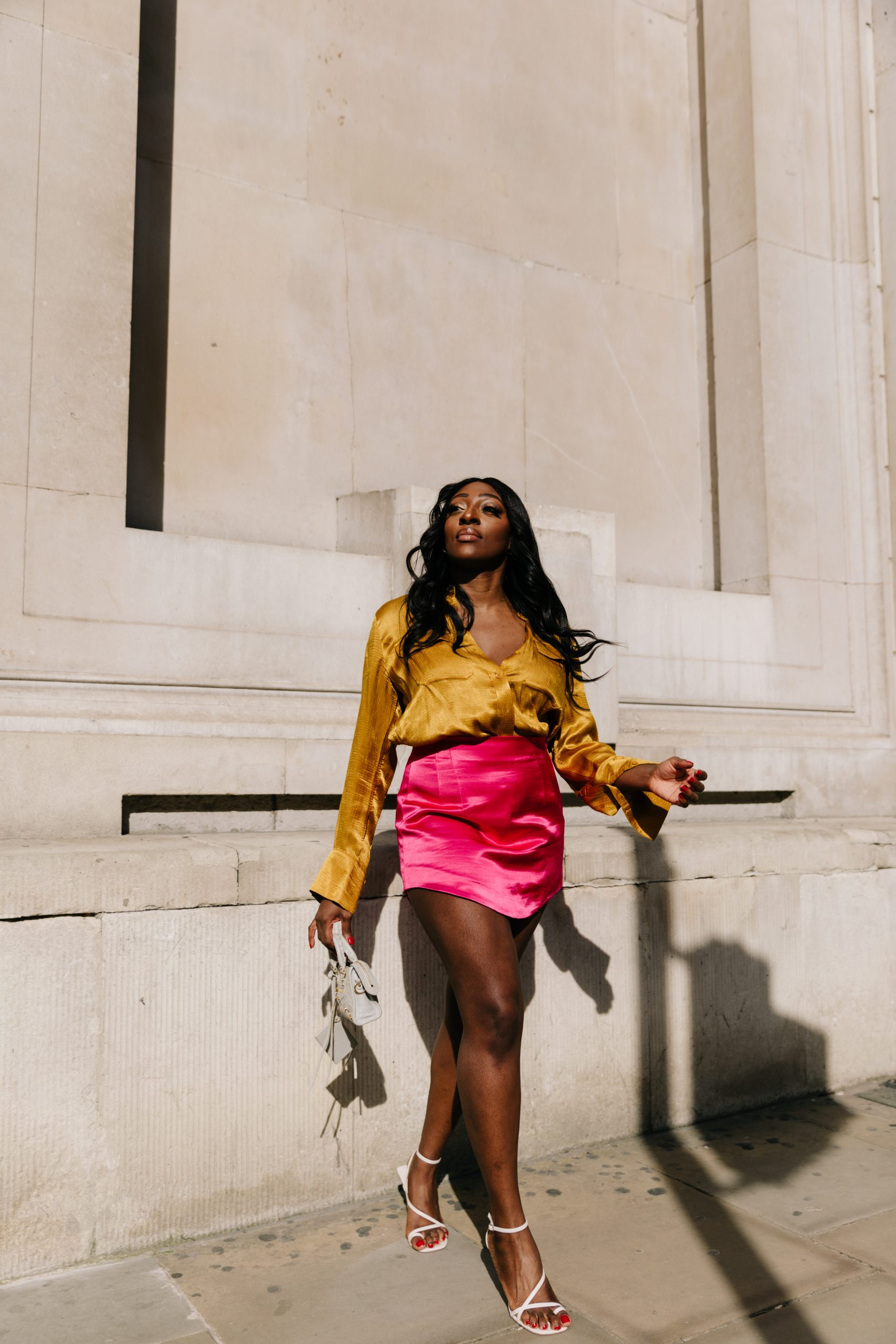 Satin-finish mini skirt Zara - Balenciaga Mini City -Tasha Antwi