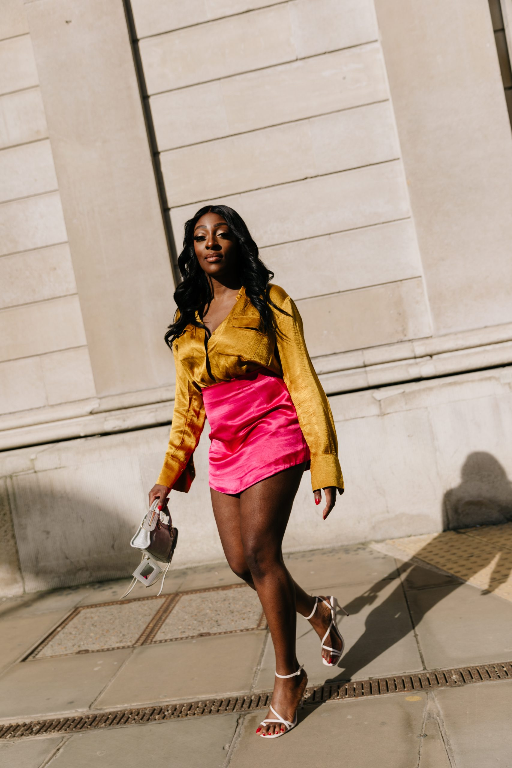 yellow &Other stories silk shirt - pink mini skirt Zara - Balenciaga Mini City bag - Top Shop sandals - Tasha Antwi