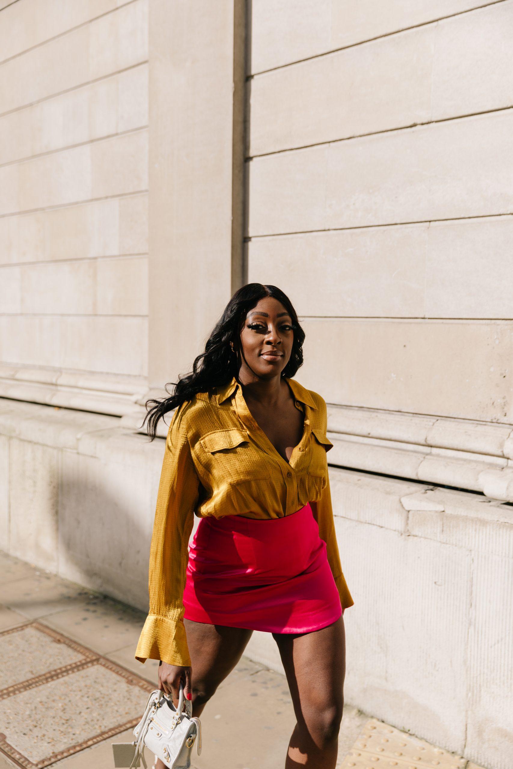 &Other stories satin shirt - Zara mini skirt - Tasha Antwi