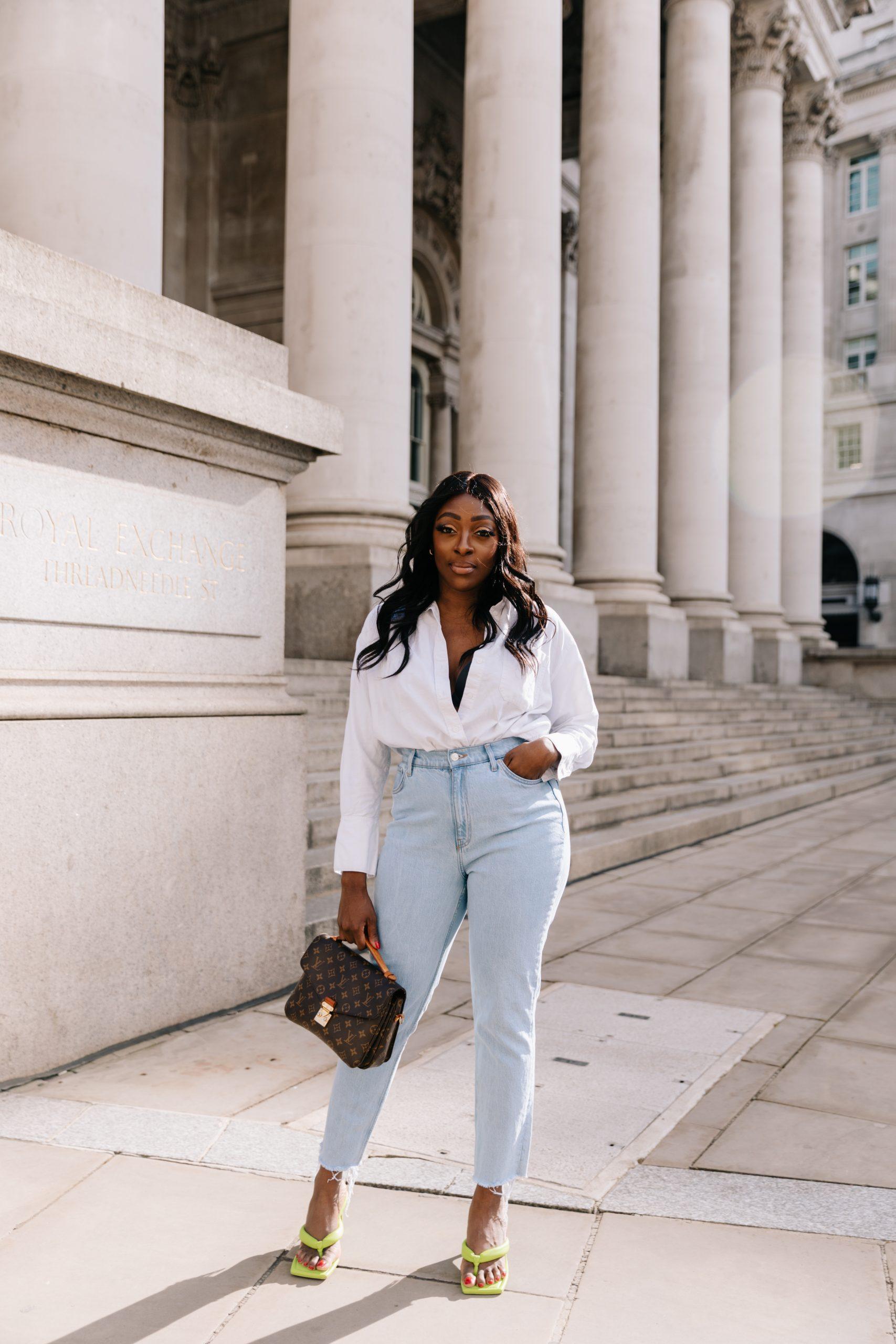 High Waisted Jeans & Denim Trends - high waisted jeans - louis vuitton pochette matis brown- Tasha Antwi