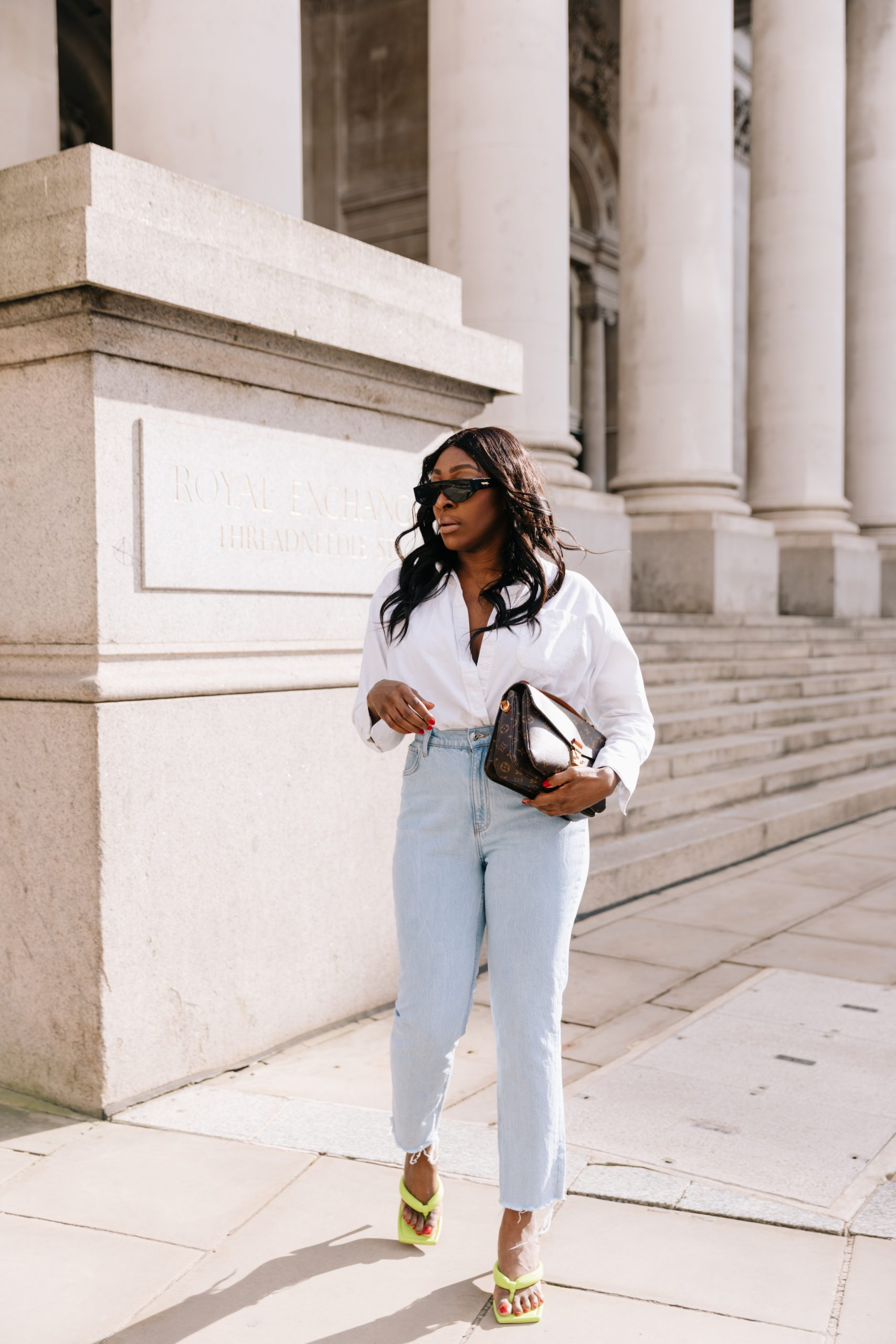 High Waisted Jeans & Denim Trends - high waisted jeans - bottega veneta sunglasses - Tasha Antwi